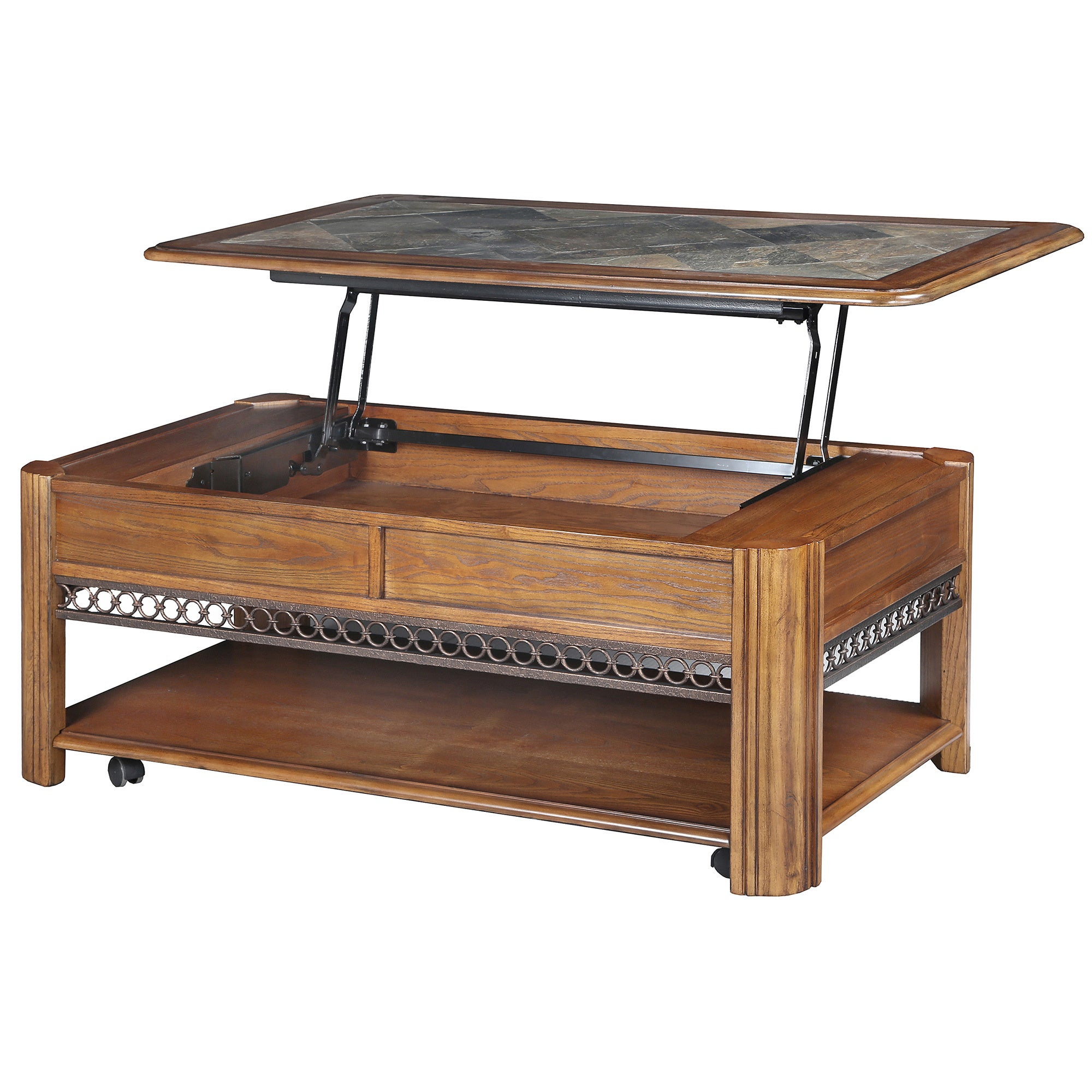 Madison Rustic Warm Nutmeg Lift Top Coffee Table with Casters
