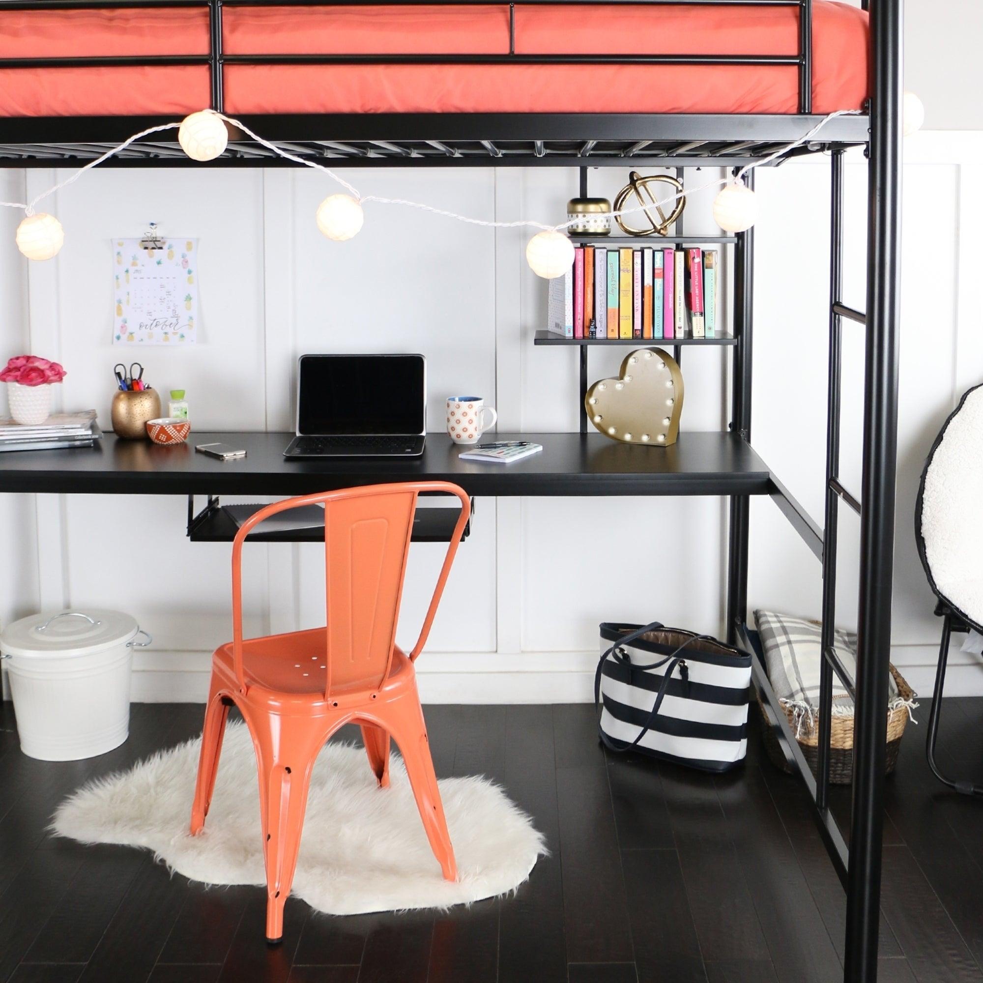 Overstock.com & Taylor \u0026 Olive Baikal Full Metal Black Loft Bed with Desk