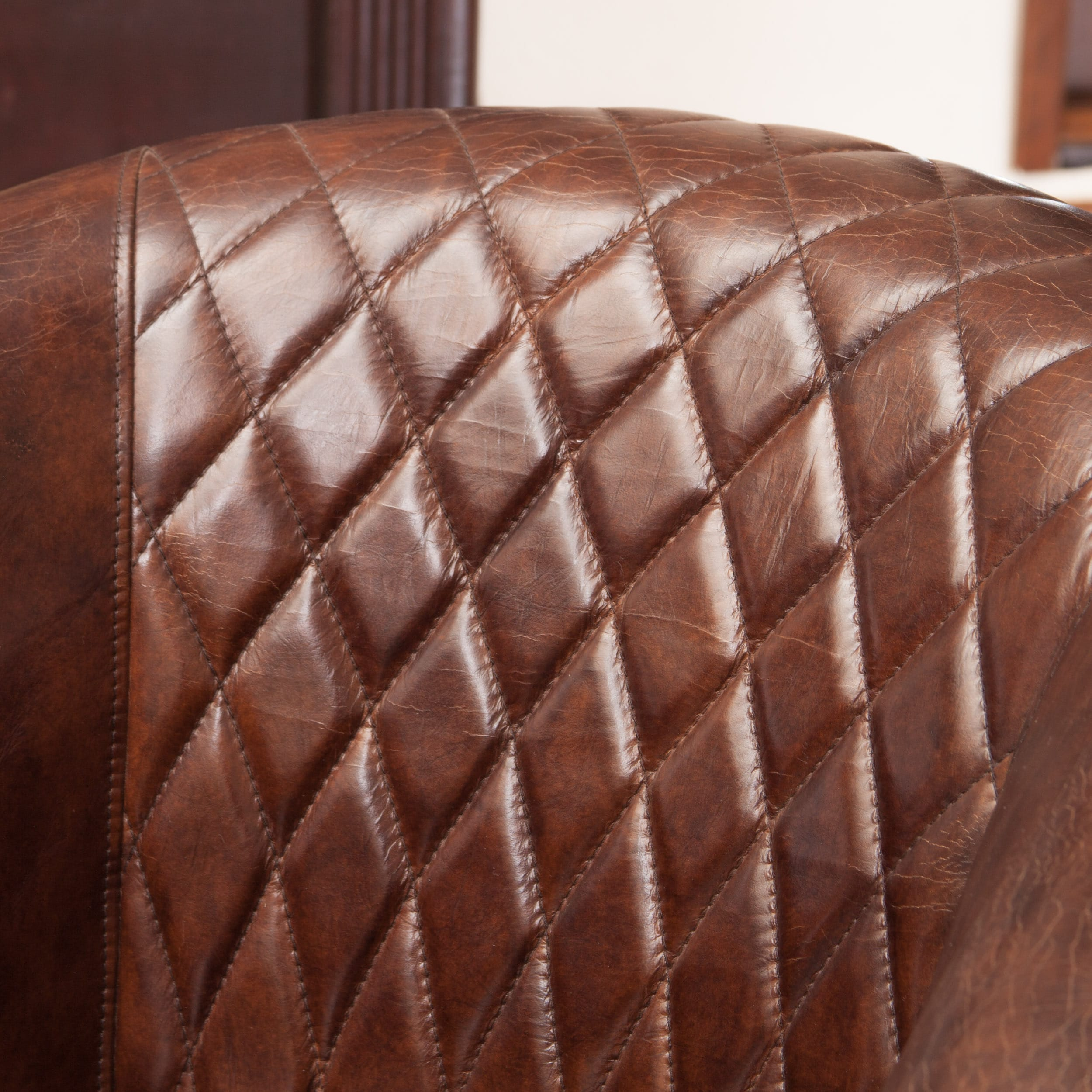 shop rahim brown tufted leather club chair by christopher knight