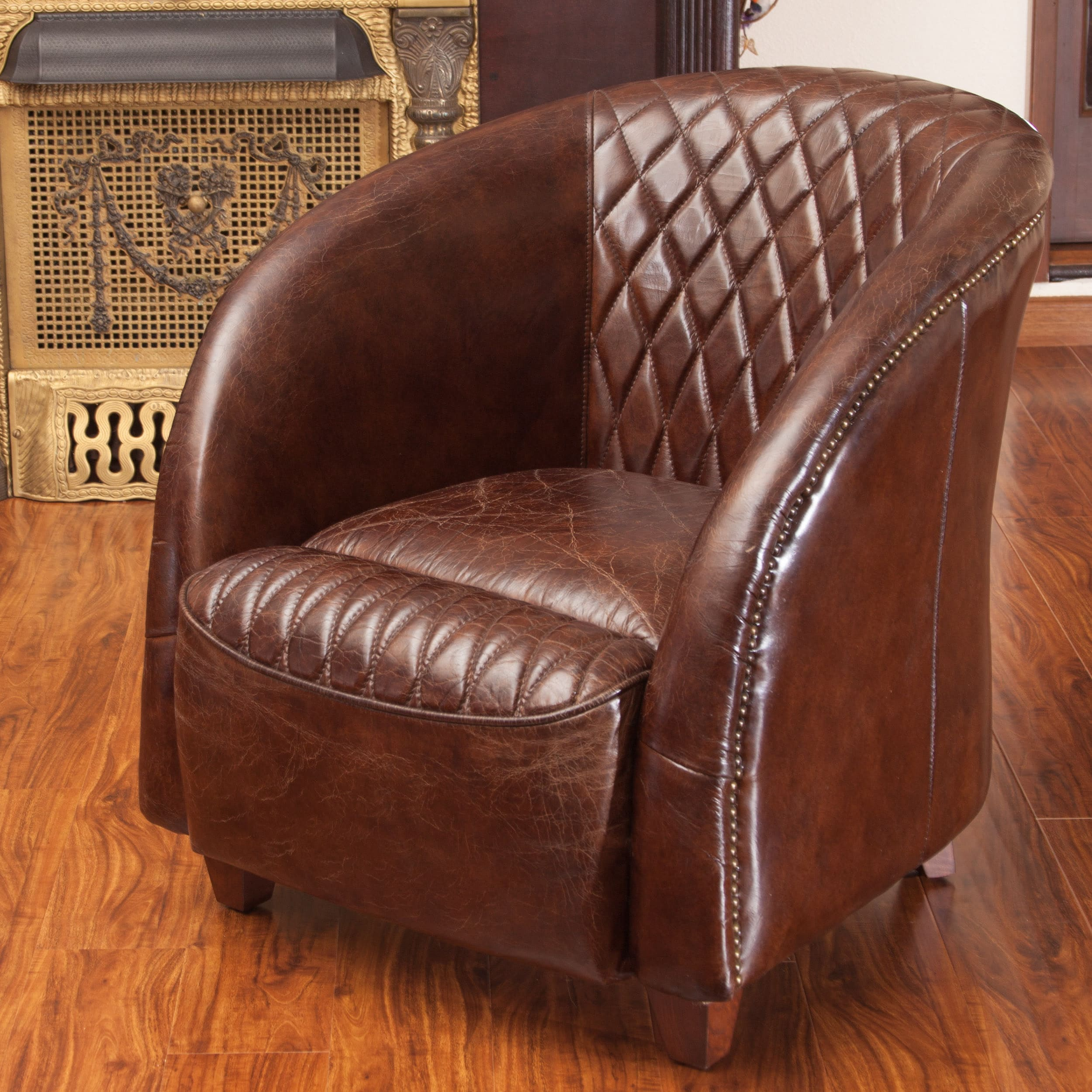 Rahim Brown Tufted Leather Club Chair By Christopher Knight Home Free Shipping Today 8283986
