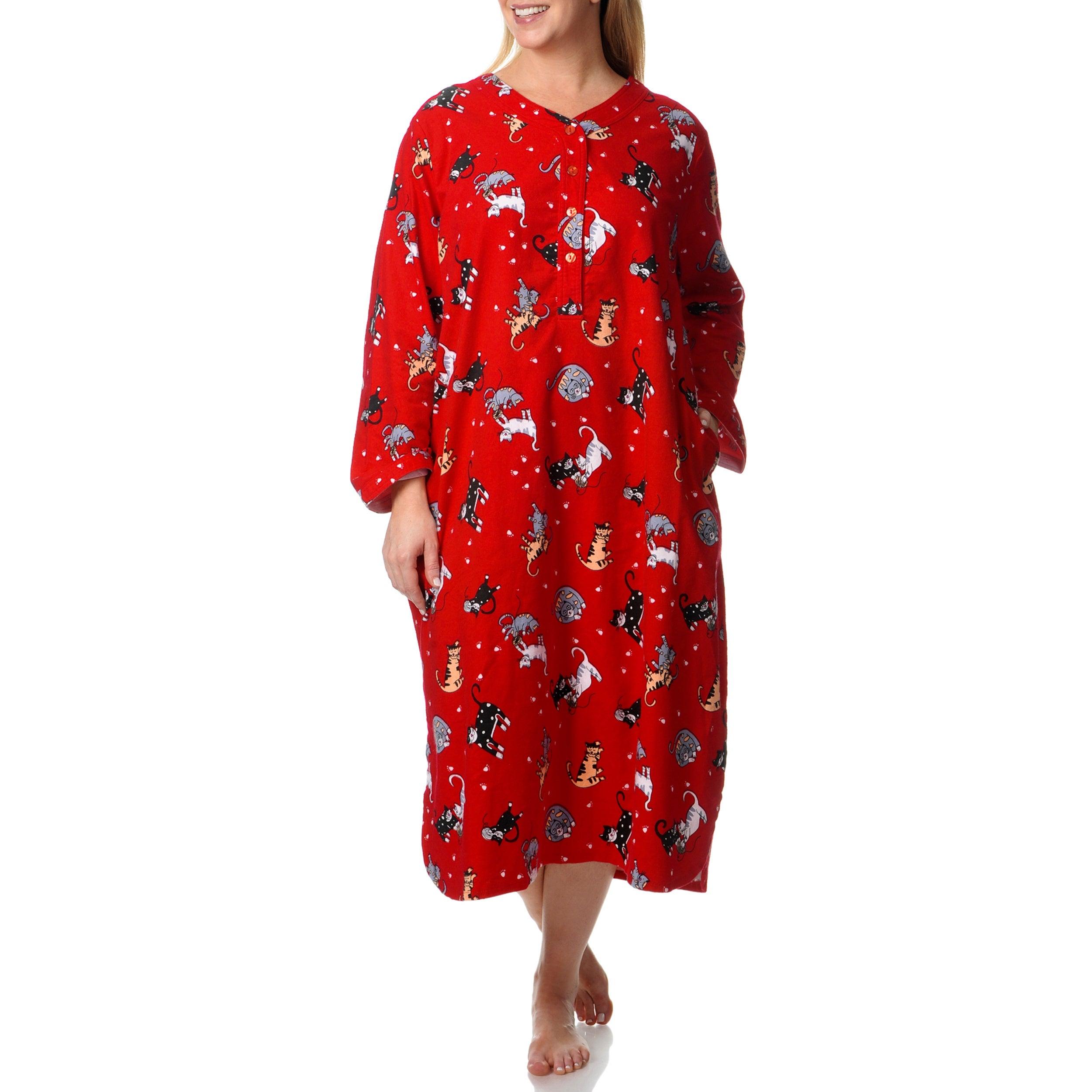 fd9e51909fc2c Shop La Cera Women s Plus Kitty Kat Print Henley Sleep Shirt - Free ...