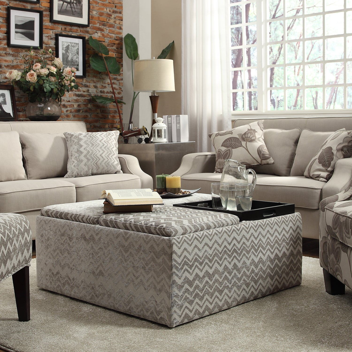 Montrose Grey Chevron Storage Cocktail Ottoman by iNSPIRE Q Bold - Free  Shipping Today - Overstock.com - 15605969