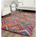 Safavieh Handmade Nantucket Abstract Chevron Pink/ Multi Cotton Rug (6' x 9')
