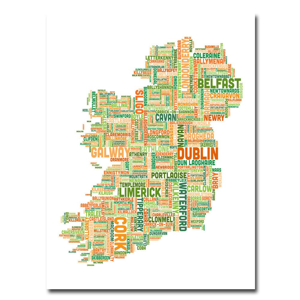 Michael Tompsett \'Ireland City Map II\' Canvas Art - Free Shipping ...