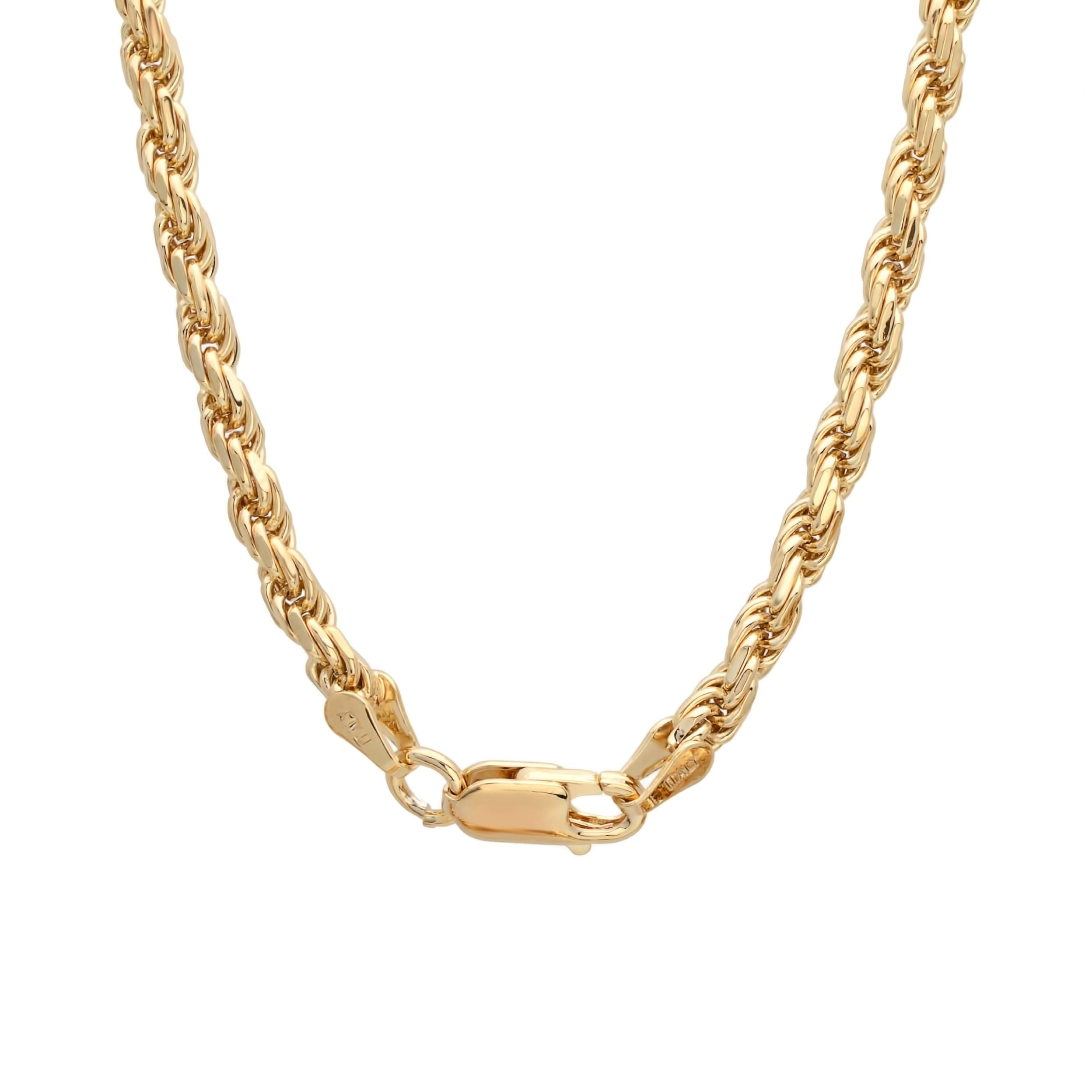be712fa901c62 Yellow Gold Plated Silver 3 mm Diamond-cut Rope Chain (18-30 Inch)