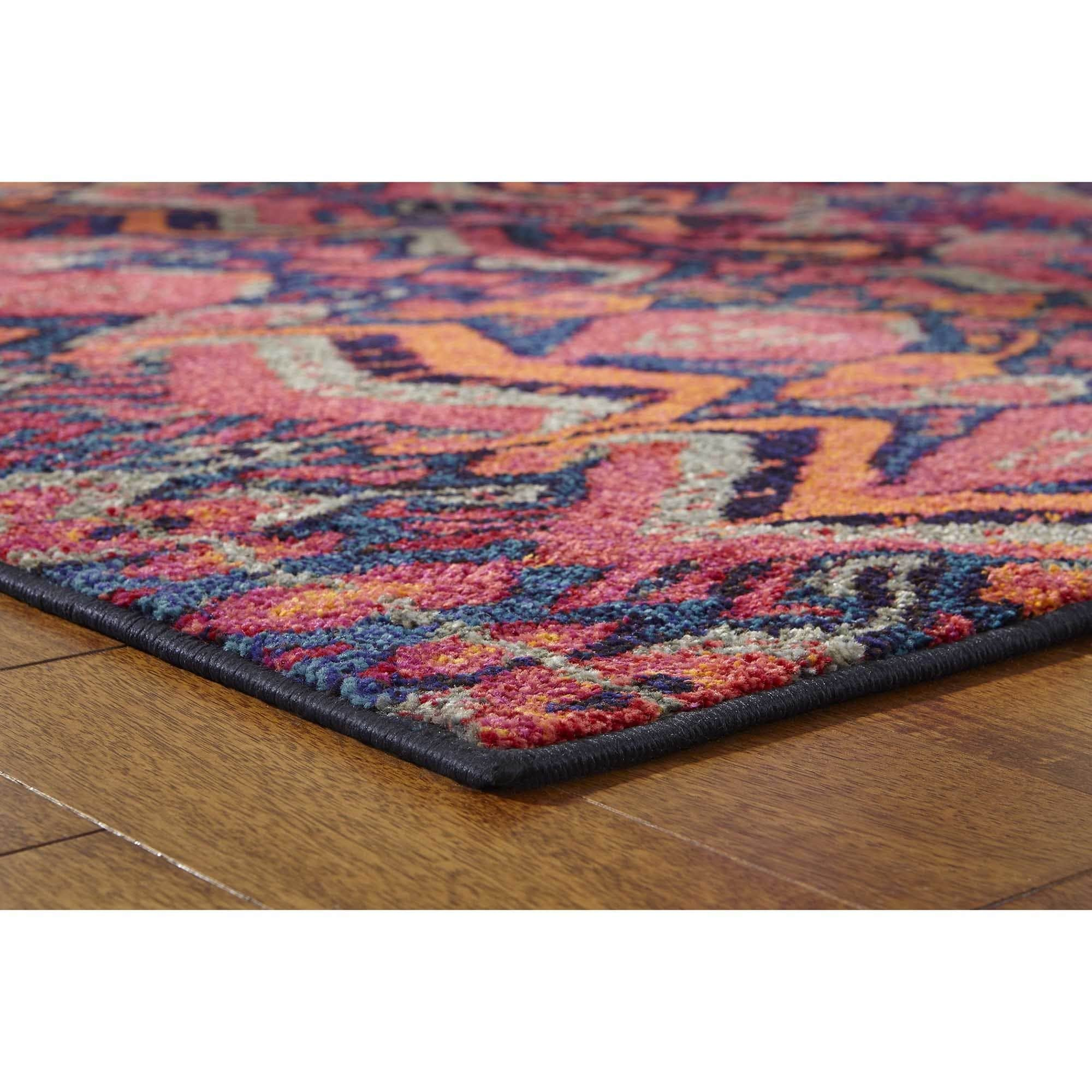 Vibrant Tribal Blue Pink Rug 99 x 122 Free Shipping Today