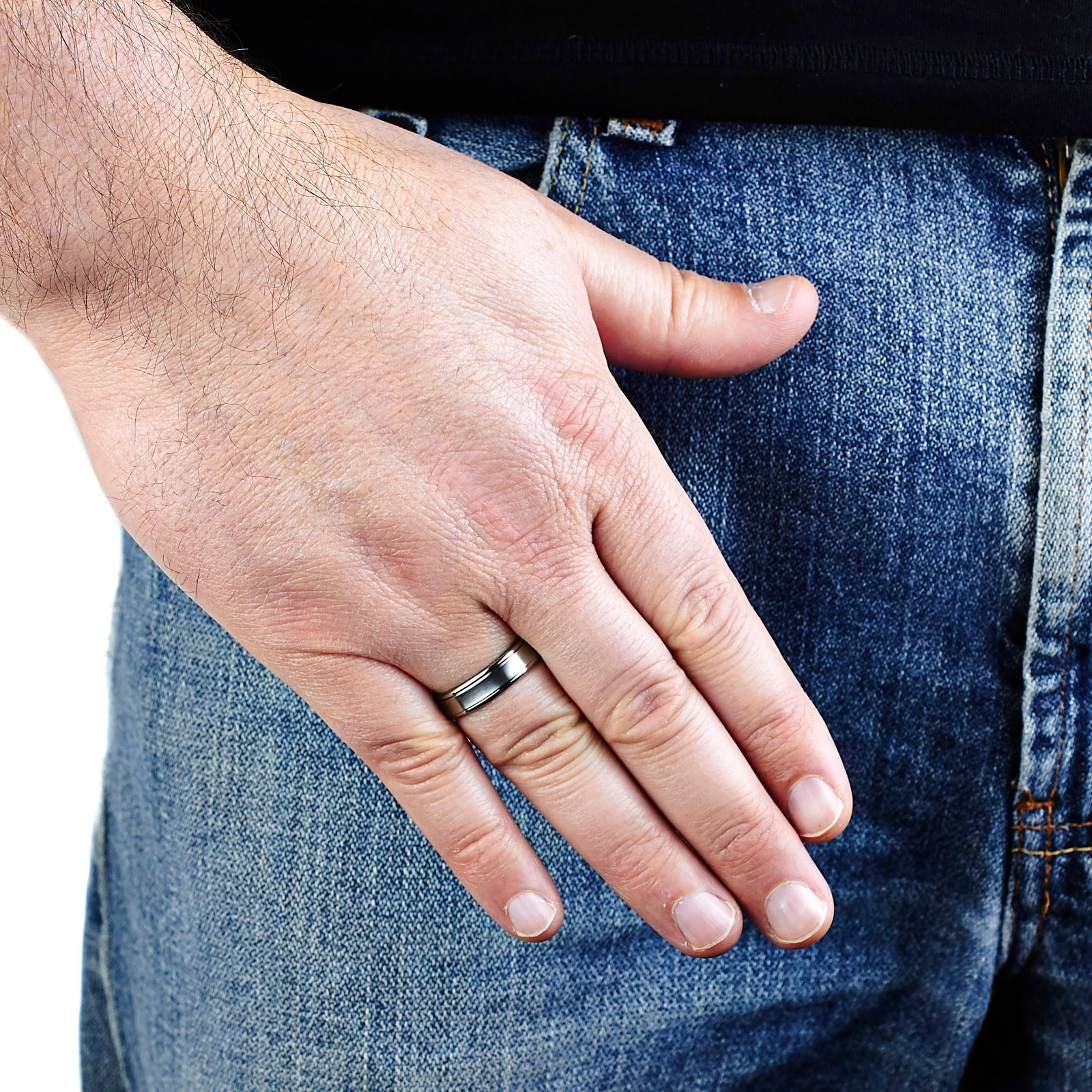 Shop Men\'s Brushed Titanium Concave 6mm Wide Comfort Fit Ring - Free ...