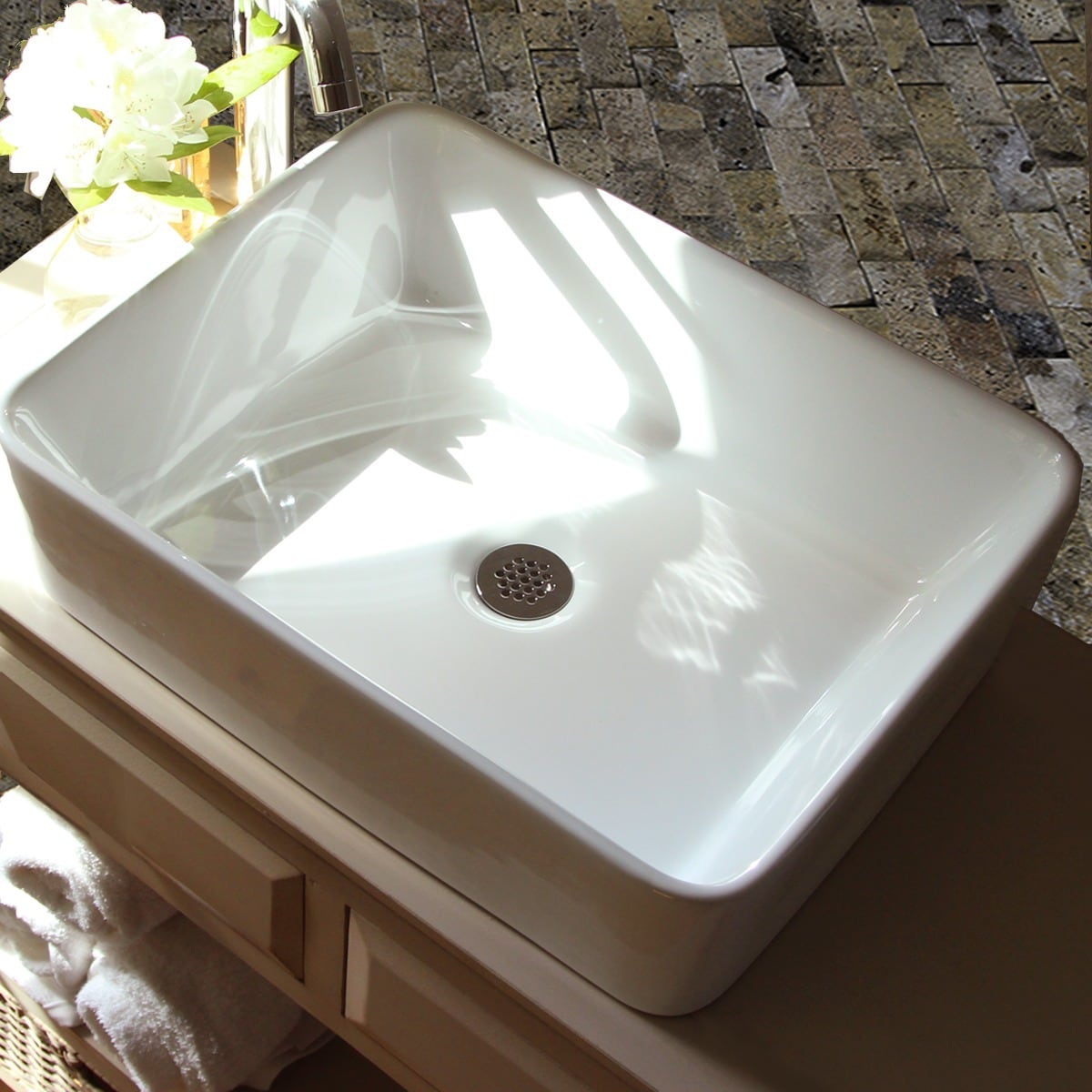 Highpoint Collection 19 Inch White Rectangular Bathroom Vessel Sink Without Overflow Free Shipping Today 8300611