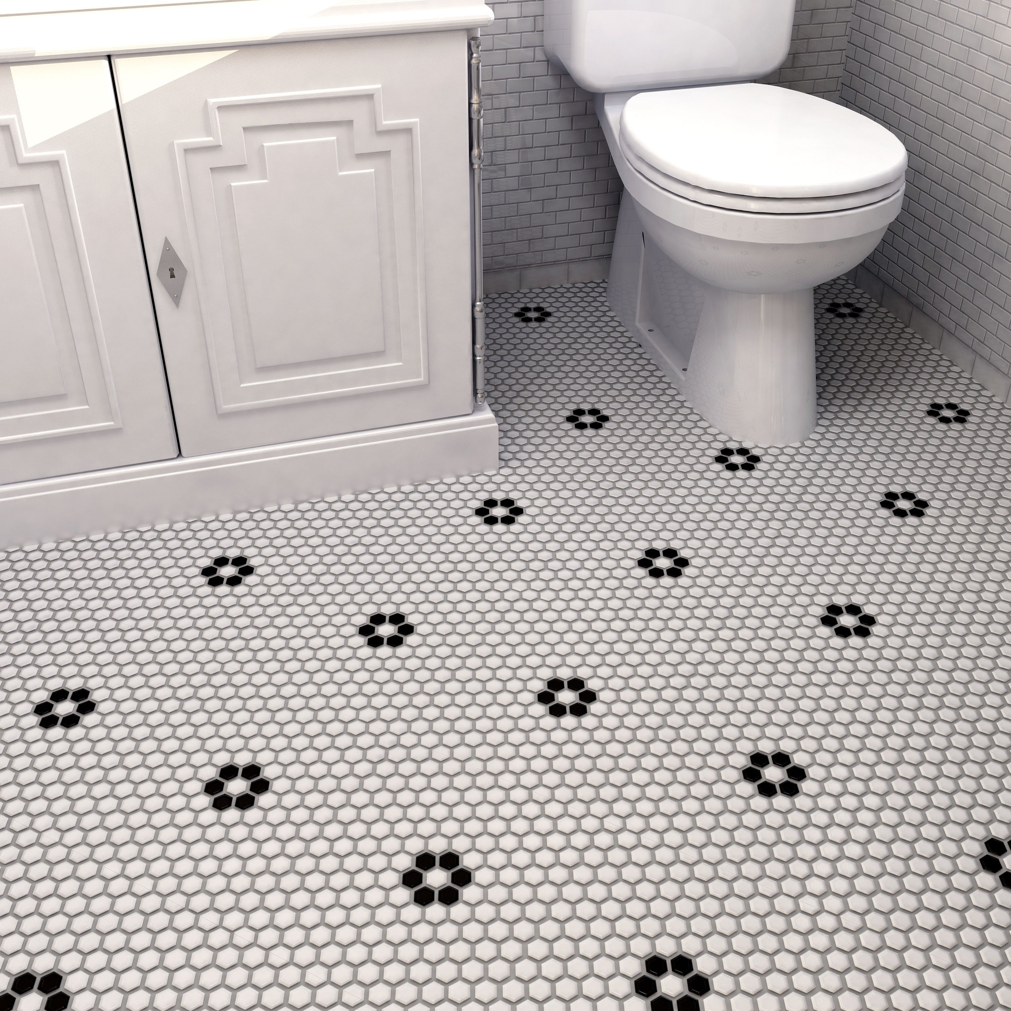Somertile manhattan hex antique blackwhite unglazed porcelain somertile metro hex matte white and black 1025 inch x 1175 inch flower porcelain dailygadgetfo Images
