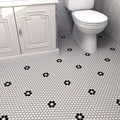SomerTile 10.25x11.75-inch Metro Hex Matte White/ Black Flower Porcelain Mosaic Floor and Wall Tile