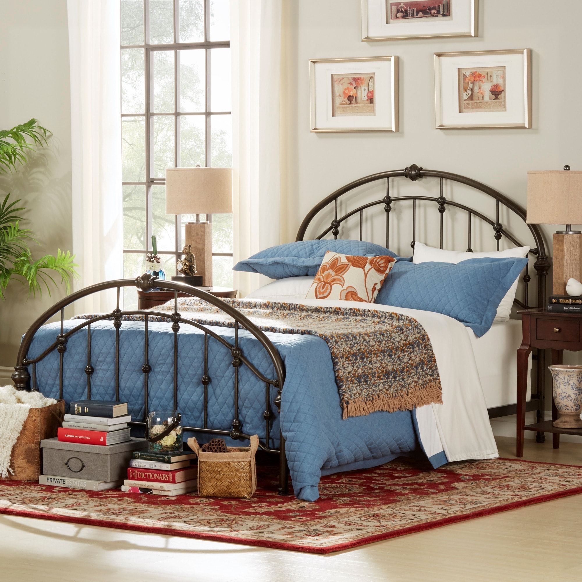Lacey Round Curved Double Top Arches Victorian Iron Bed by iNSPIRE Q  Classic - Free Shipping