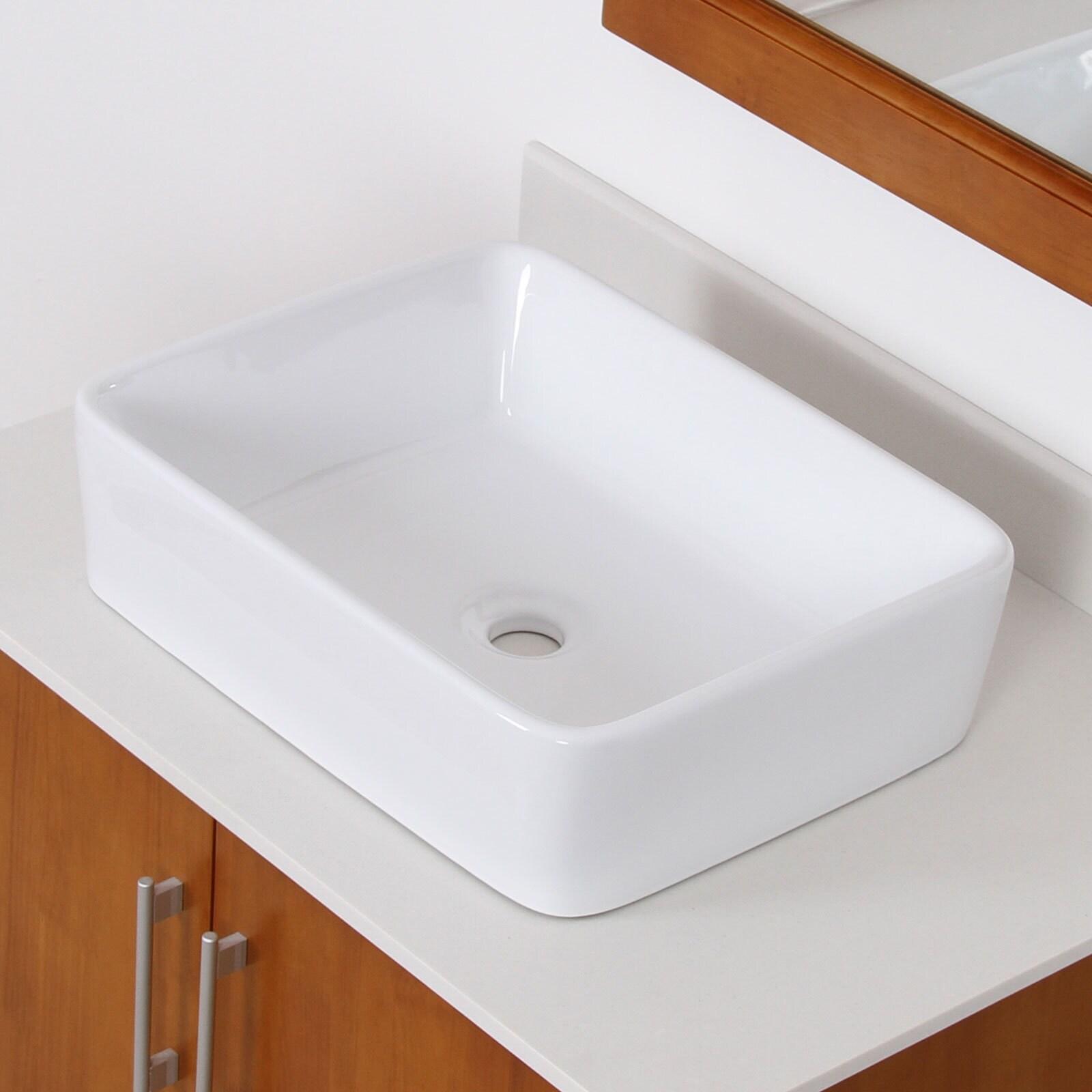 Shop Elite High-temperature Rectangular Ceramic Bathroom Sink and ...