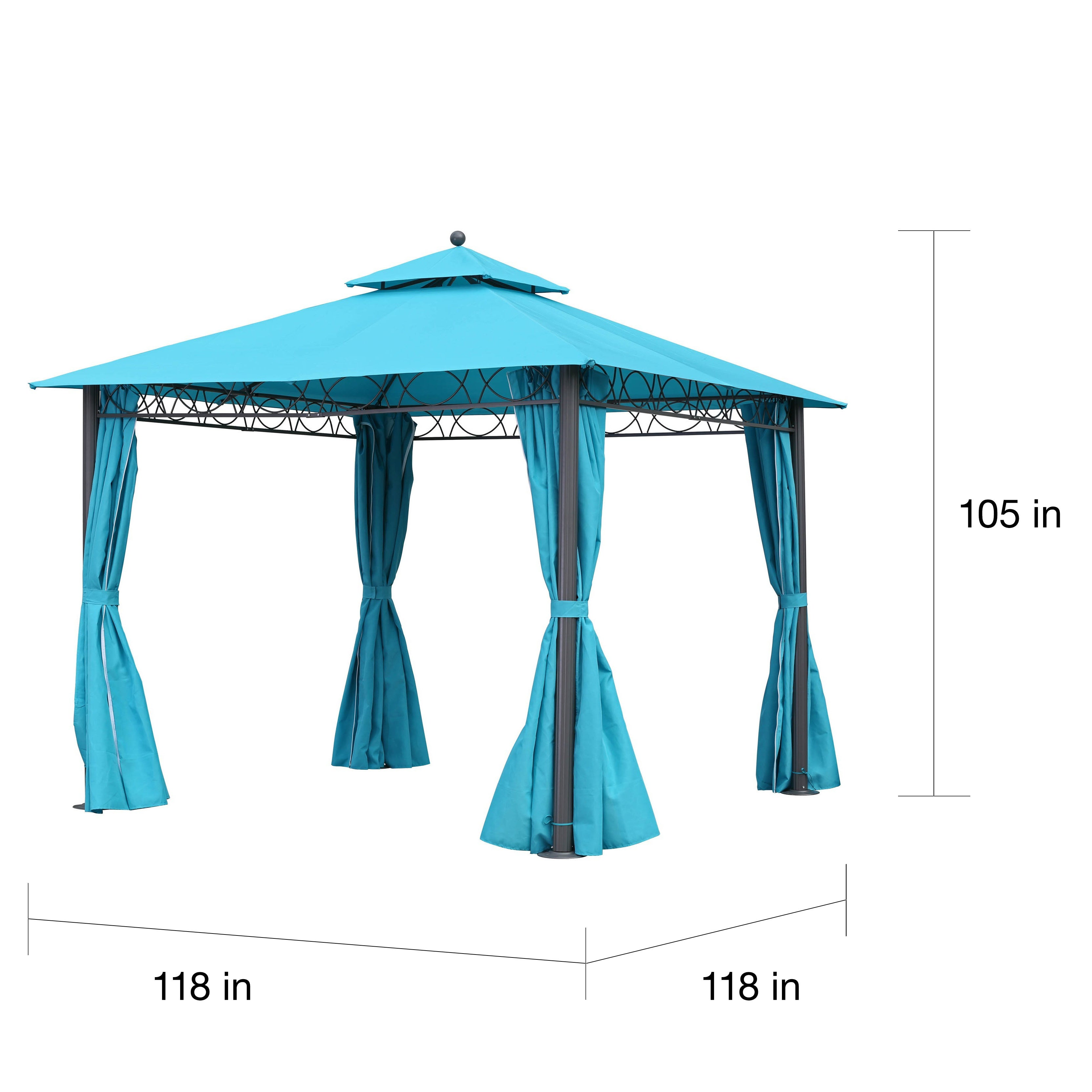 International Caravan St. Kitts 10-foot Double-vented Canopy Draped Square Gazebo  sc 1 st  Overstock.com & Shop International Caravan St. Kitts 10-foot Double-vented Canopy ...