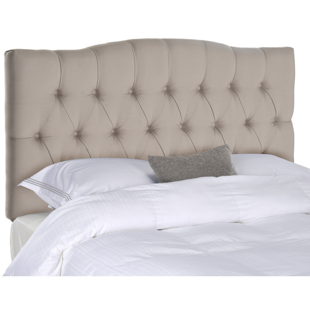 Shop safavieh axel taupe linen upholstered tufted headboard queen free shipping today overstock com 8306983