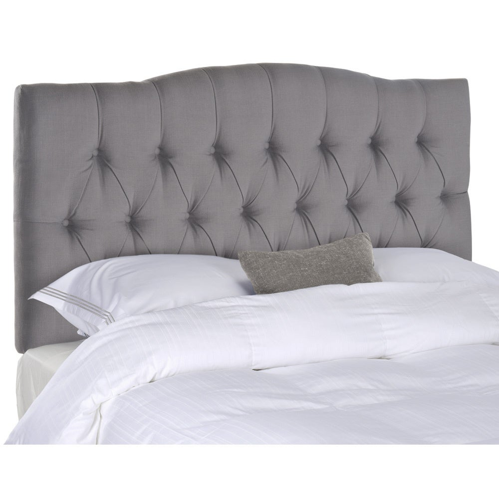 Shop safavieh axel arctic grey upholstered tufted headboard queen free shipping today overstock com 8306984