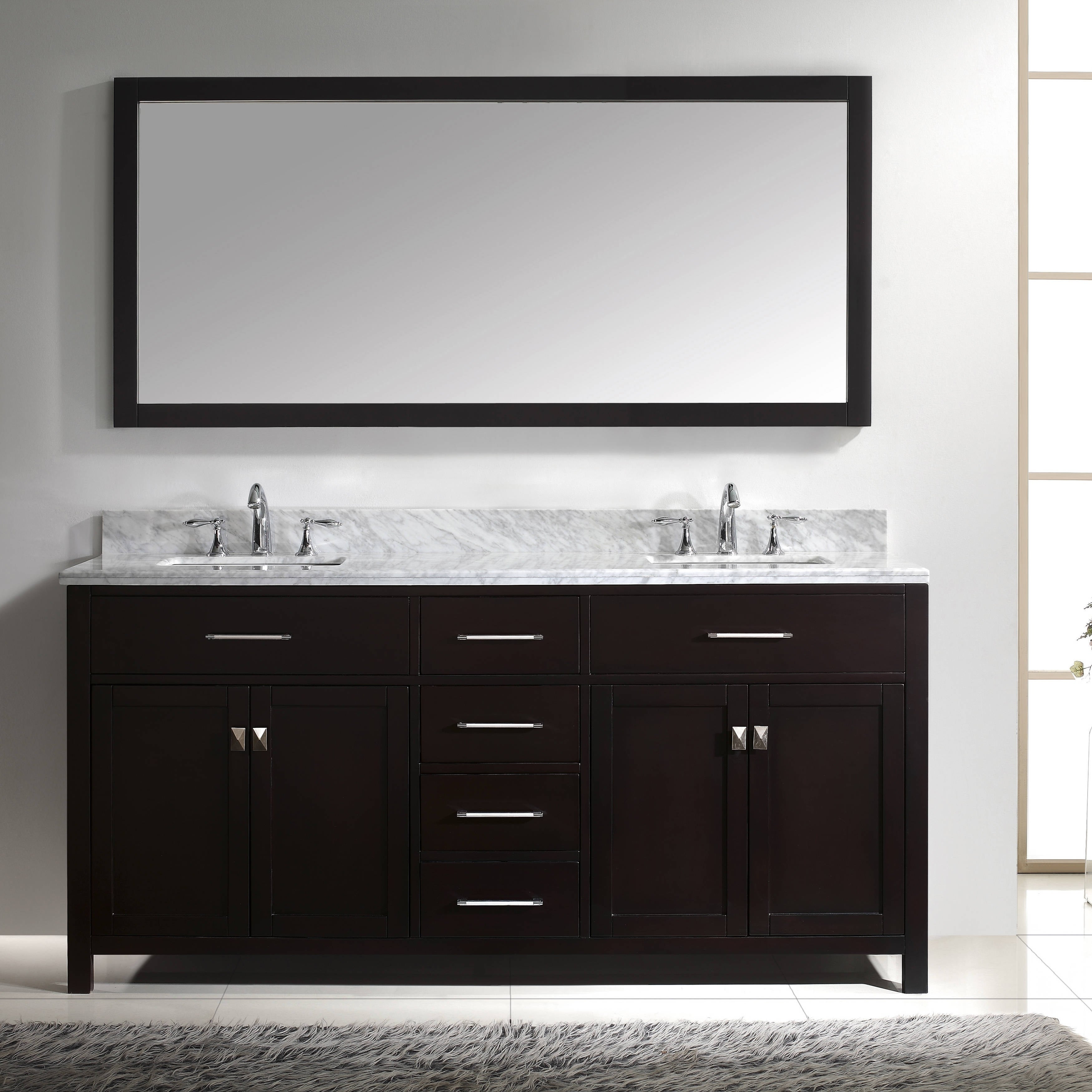 Attirant Shop Caroline 72 Inch Double Vanity White Marble Top, Sink And Mirror    Free Shipping Today   Overstock.com   8307243