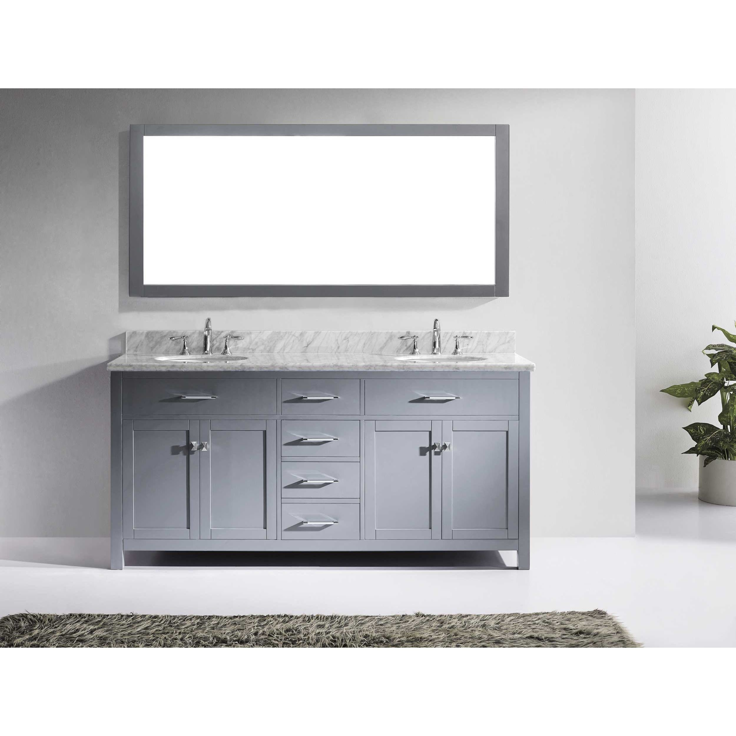 Shop Caroline 72-inch Double Vanity White Marble Top, Sink and ...