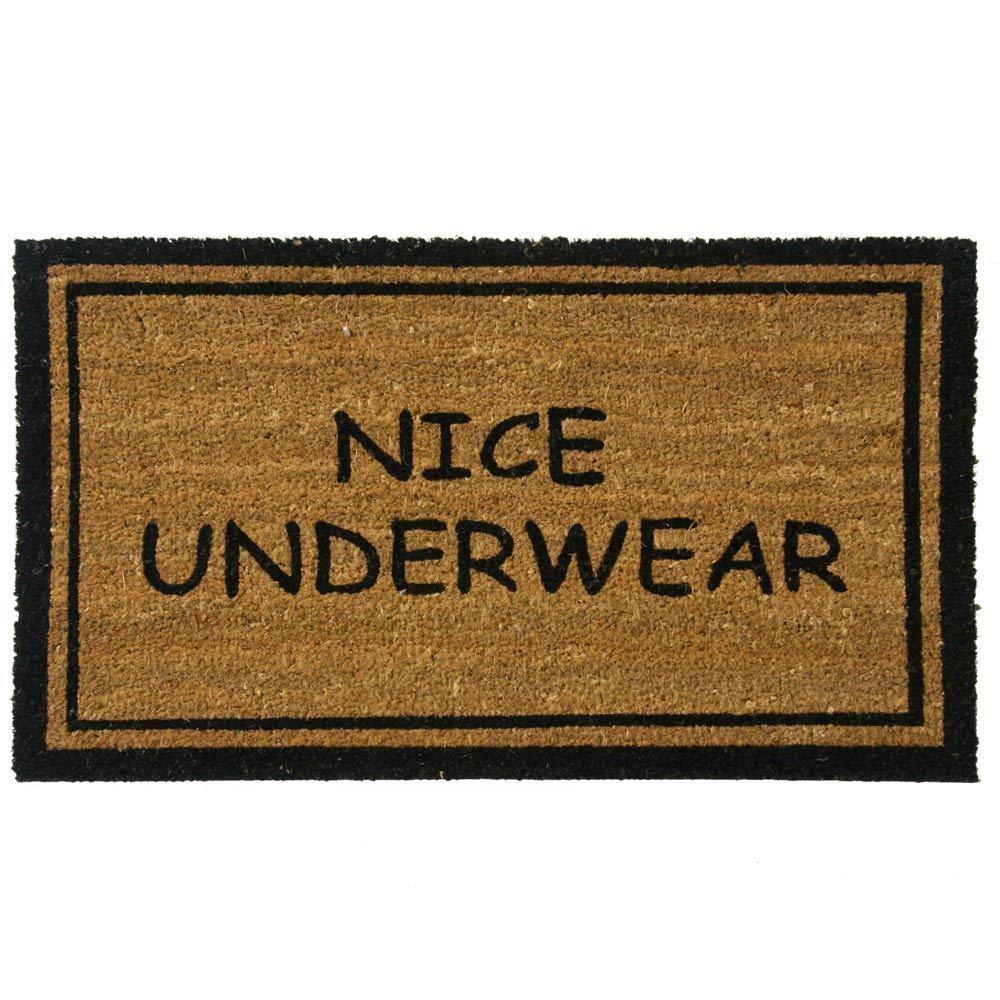 Rubber-Cal 'Nice Underwear Funny Doormat' Coconut Mat (18 x 30 ...