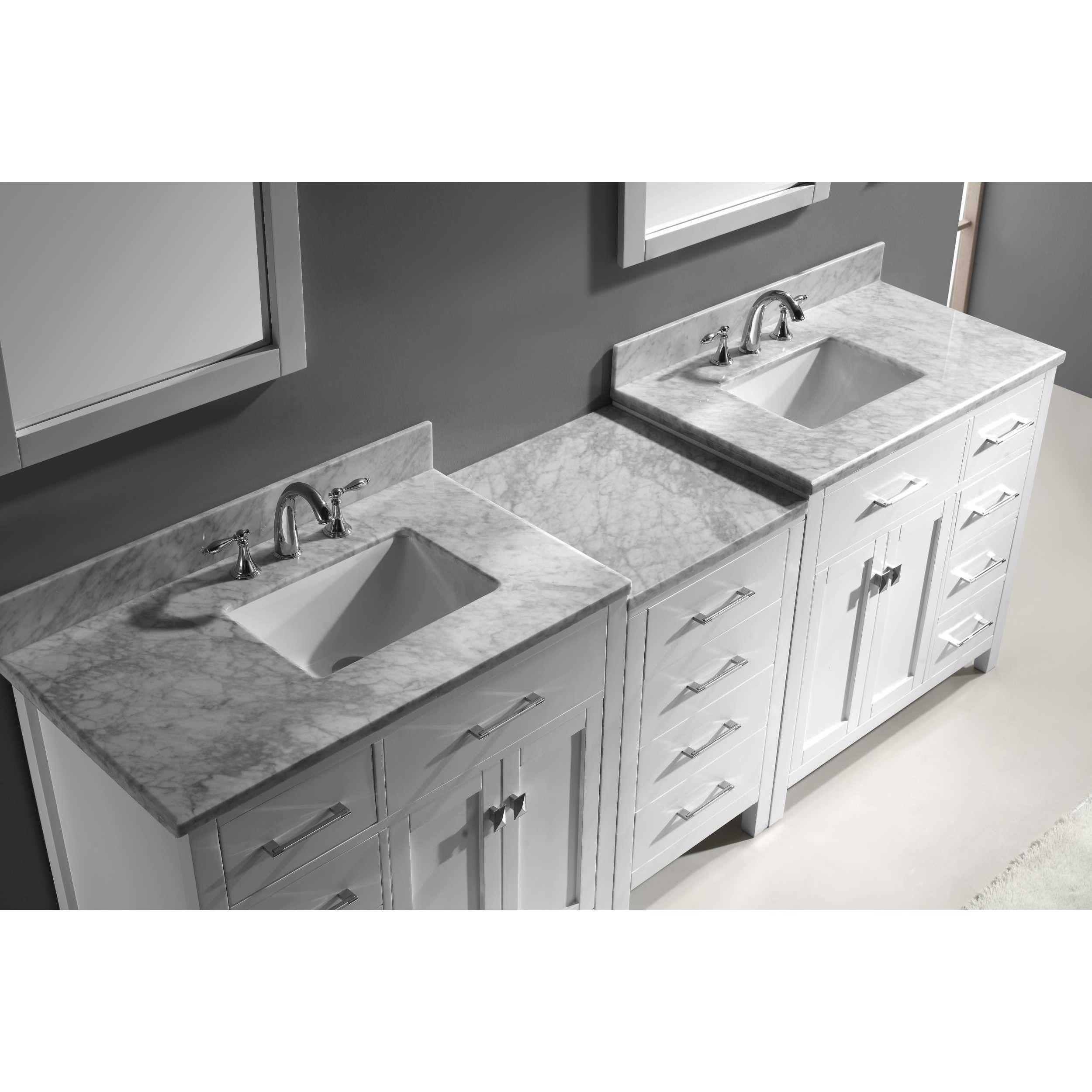 Virtu USA Caroline Parkway 93 inch Italian Carrara White Marble