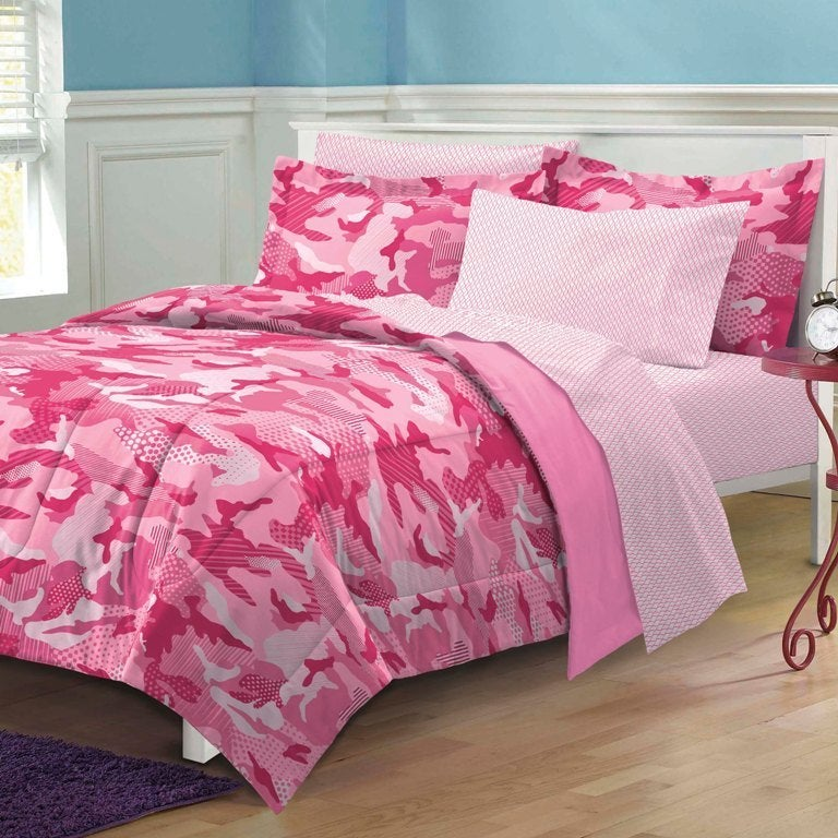Shop Geo Camo Pink 7 Piece Bed In A Bag With Sheet Set   Free Shipping  Today   Overstock.com   8316095
