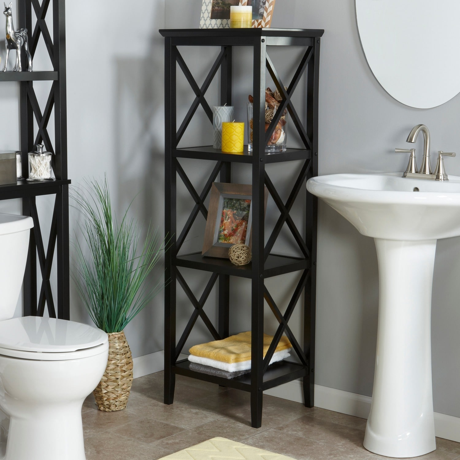 Shop RiverRidge Home X Frame Bathroom Towel Tower   Free Shipping Today    Overstock.com   8316186