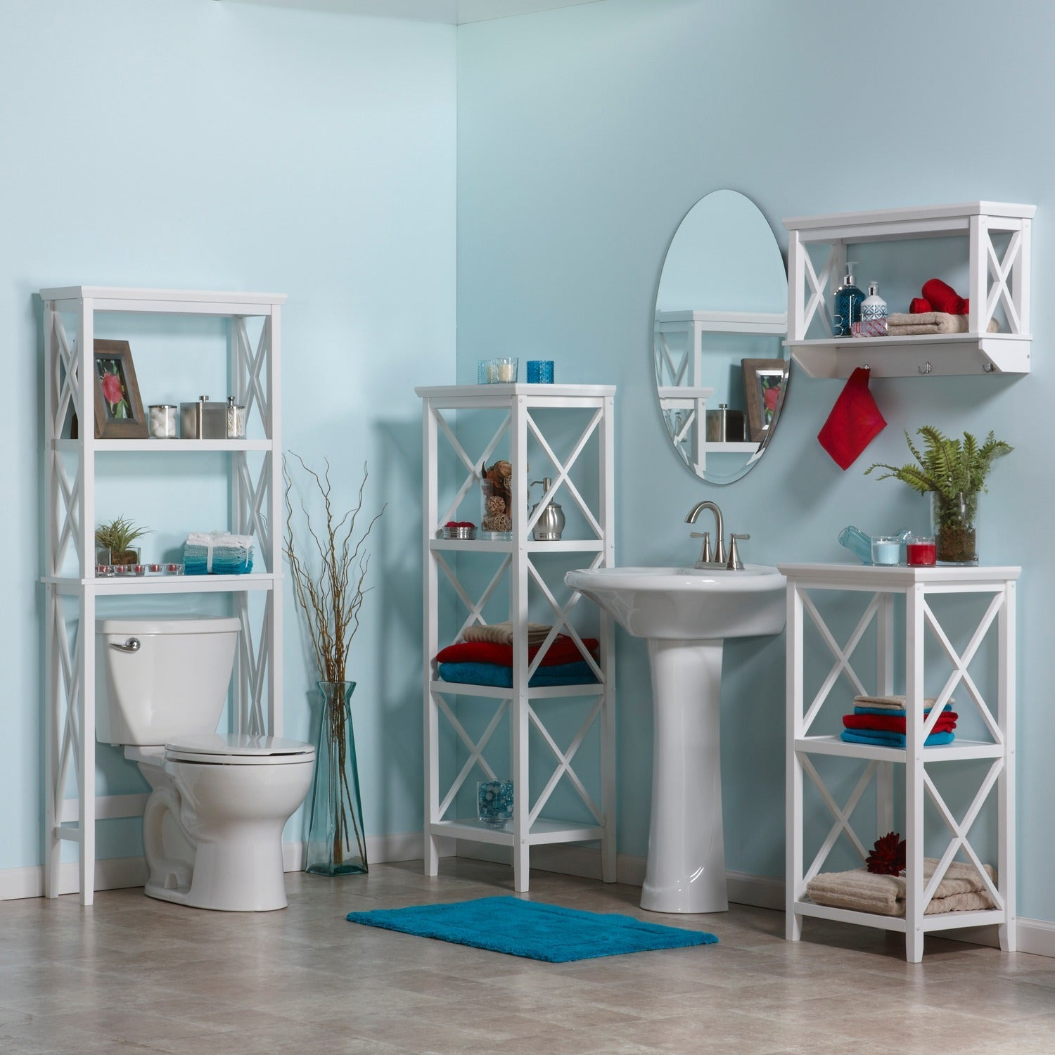 Shop RiverRidge Home X-frame Bathroom Wall Shelf - Free Shipping ...