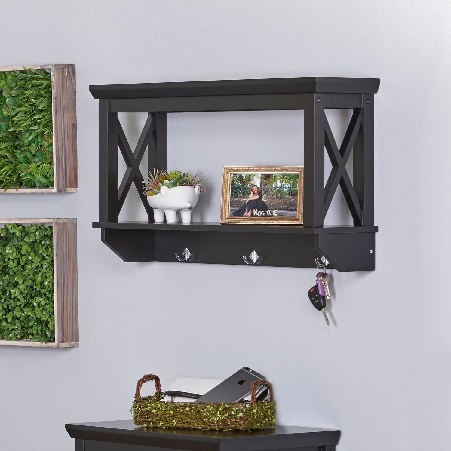 RiverRidge X-Frame Collection Bathroom Wall Shelf with Hooks, White ...