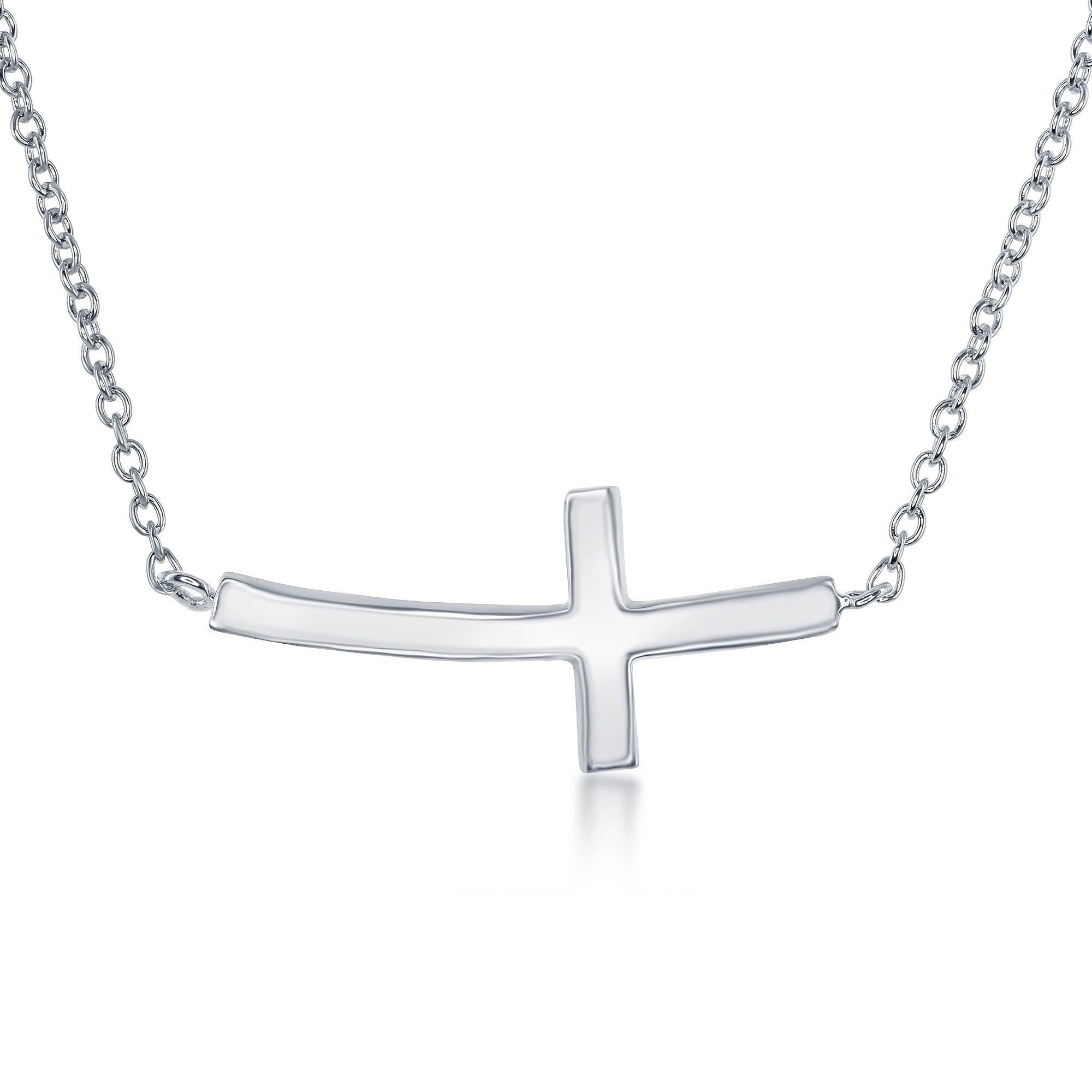 afff7763500c6 La Preciosa Sterling Silver Curved Sideways Cross Necklace