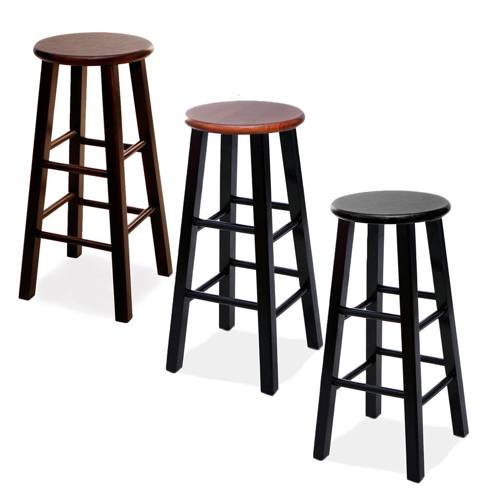 Round Wood Bar Stools Set Of 2 Free Shipping Today 8330123
