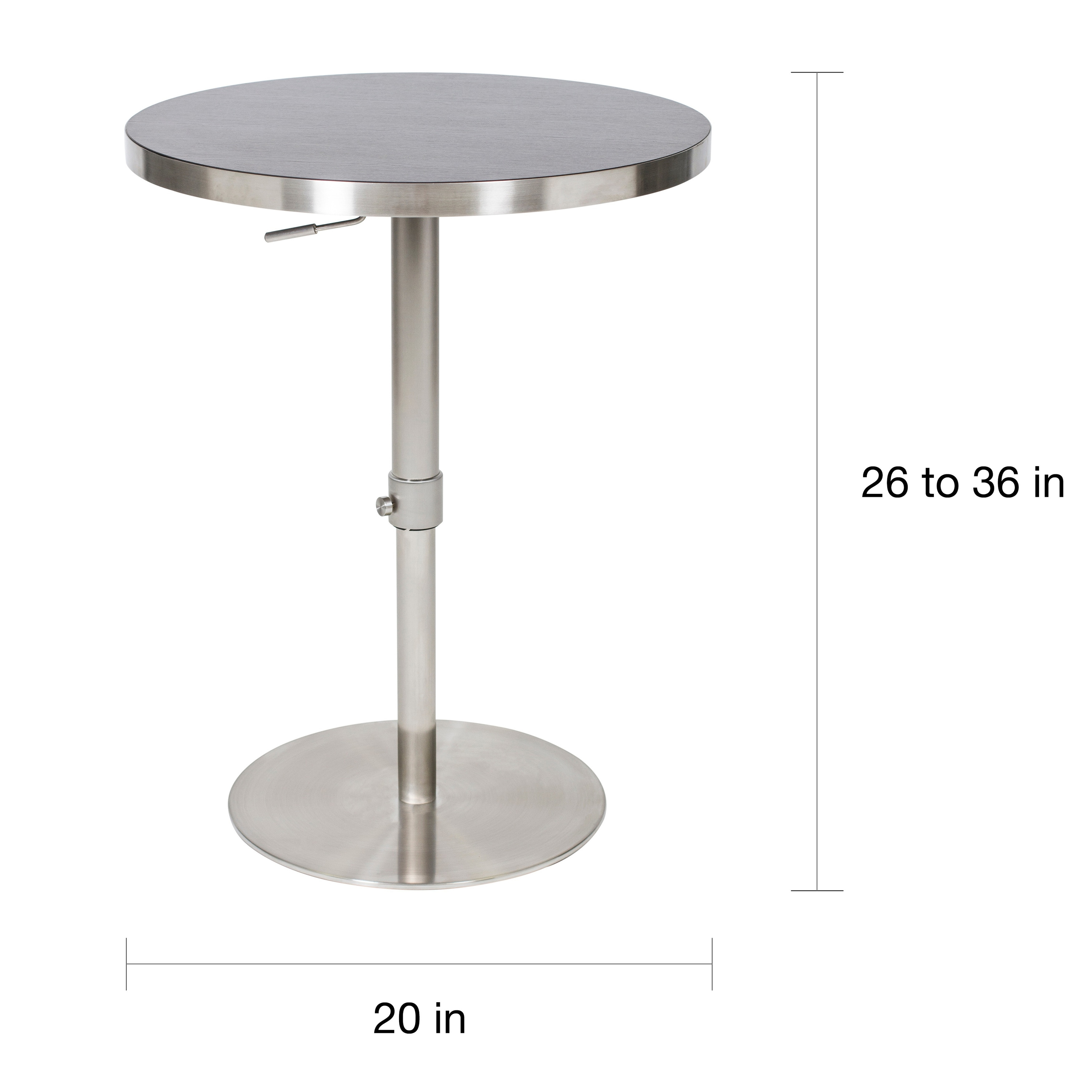 Mix 26 36 Inch Adjule Height Round Espresso Wood Melamine Veneer Brushed Stainless Steel Pub Table With Slab Base Free Shipping Today