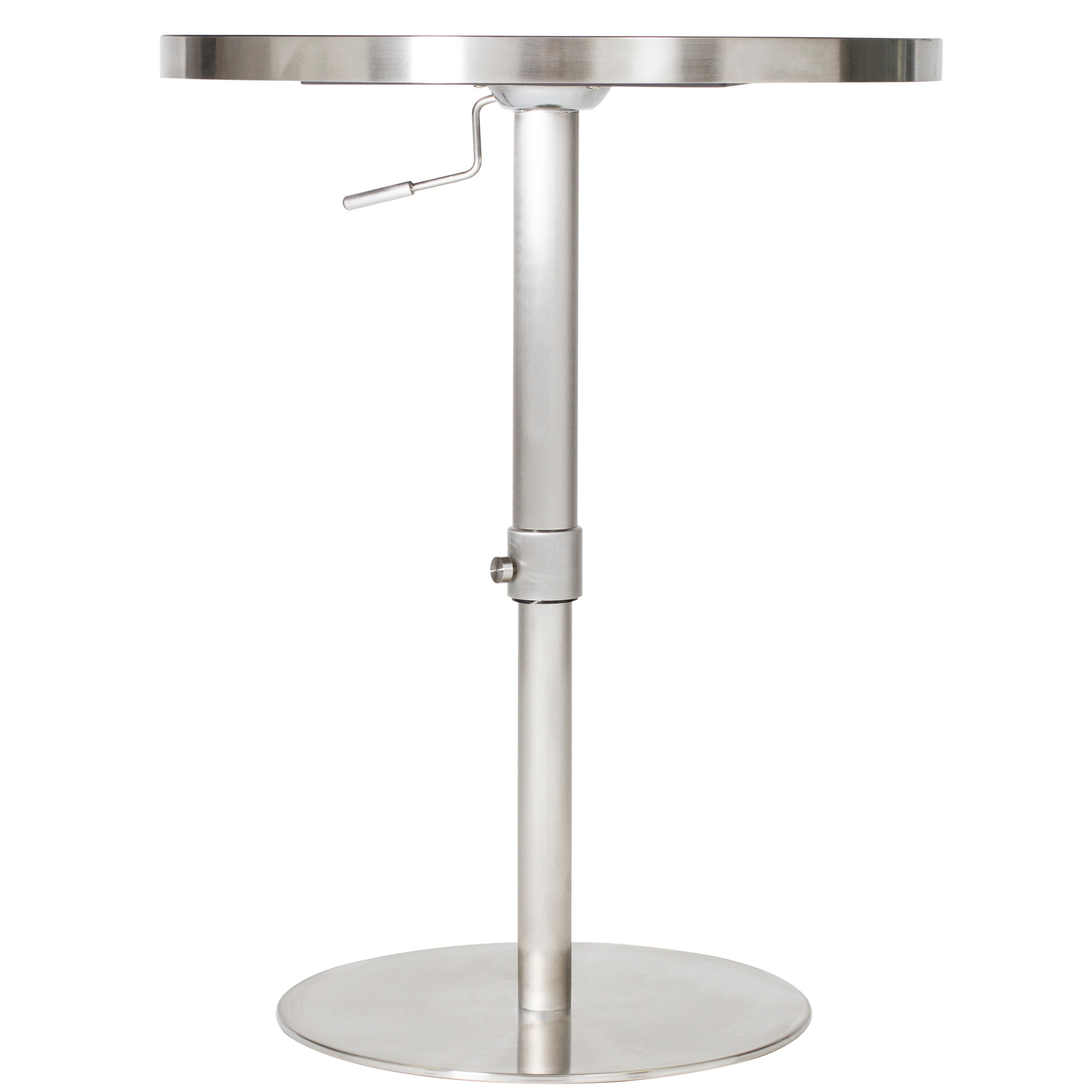 MIX 26   36 Inch Adjustable Height Round Espresso Wood Melamine Veneer  Brushed Stainless Steel Pub Table With Round Slab Base   Free Shipping  Today ...