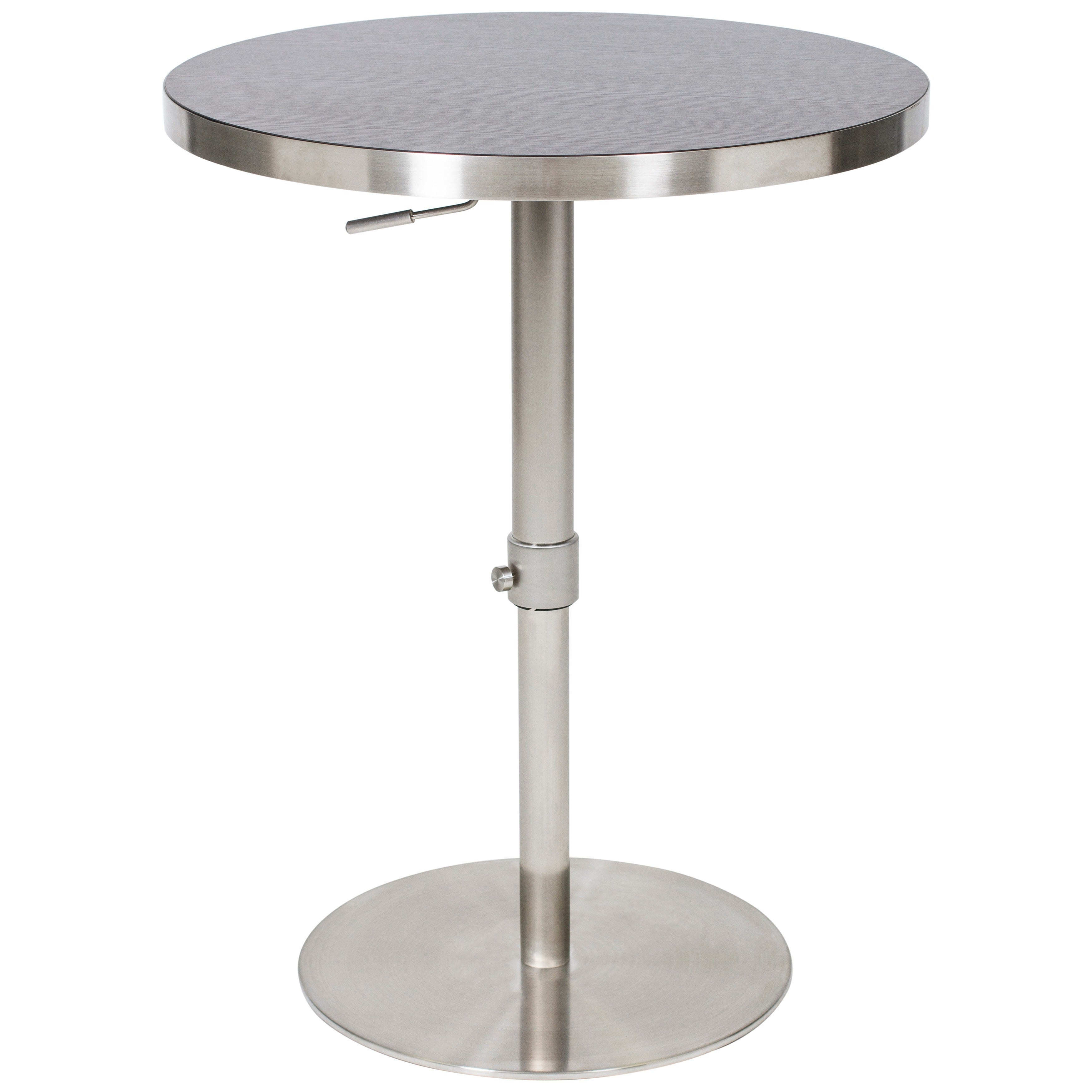 Shop MIX 26   36 Inch Adjustable Height Round Espresso Wood Melamine Veneer  Brushed Stainless Steel Pub Table With Round Slab Base   On Sale   Free  Shipping ...