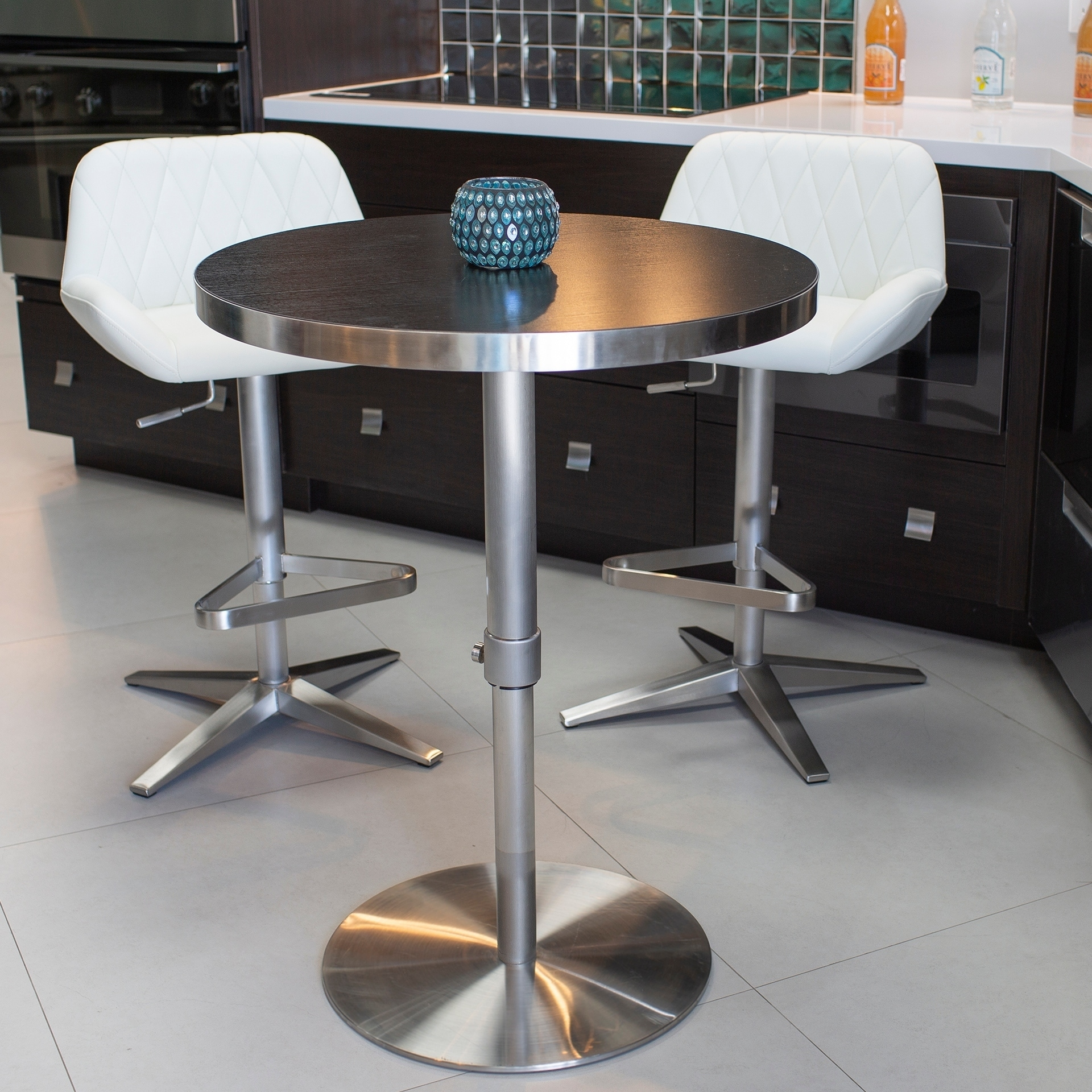 Adjustable Height Round Table.Mix 26 36 Inch Adjustable Height Round Espresso Wood Melamine Veneer Brushed Stainless Steel Pub Table With Round Slab Base