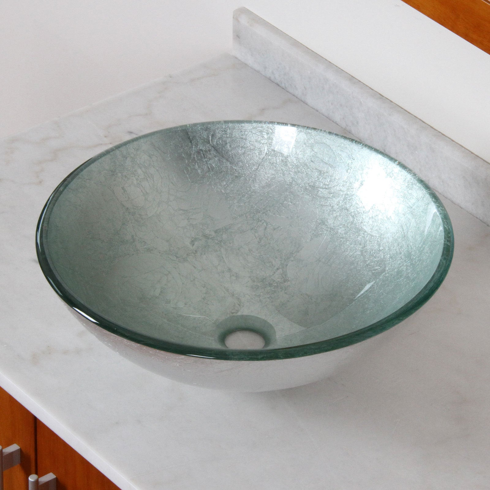 Elite Modern Tempered Glass Bathroom Vessel Sink with Silver ...