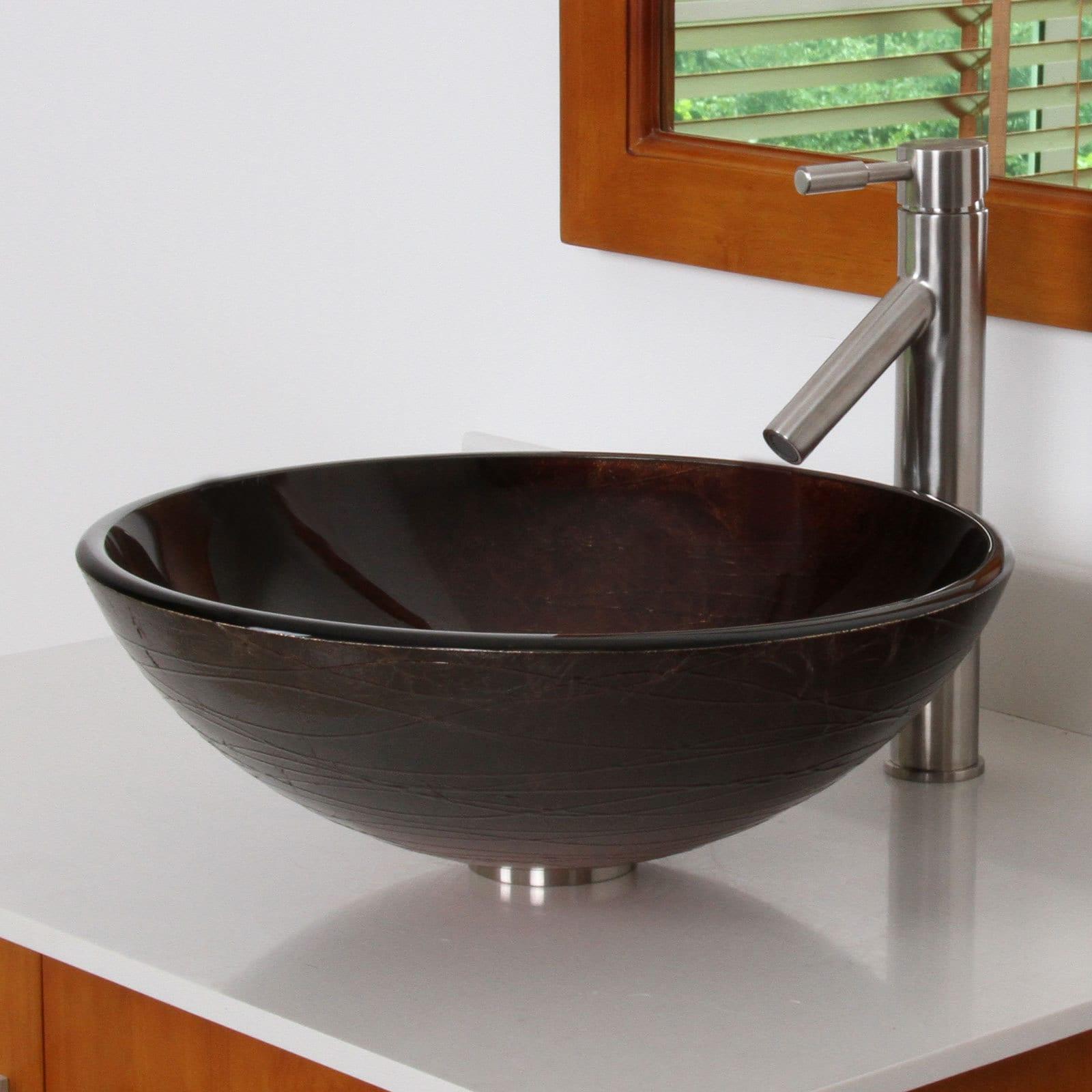 Elite Modern Design Tempered Glass Bathroom Vessel Sink with Faucet ...