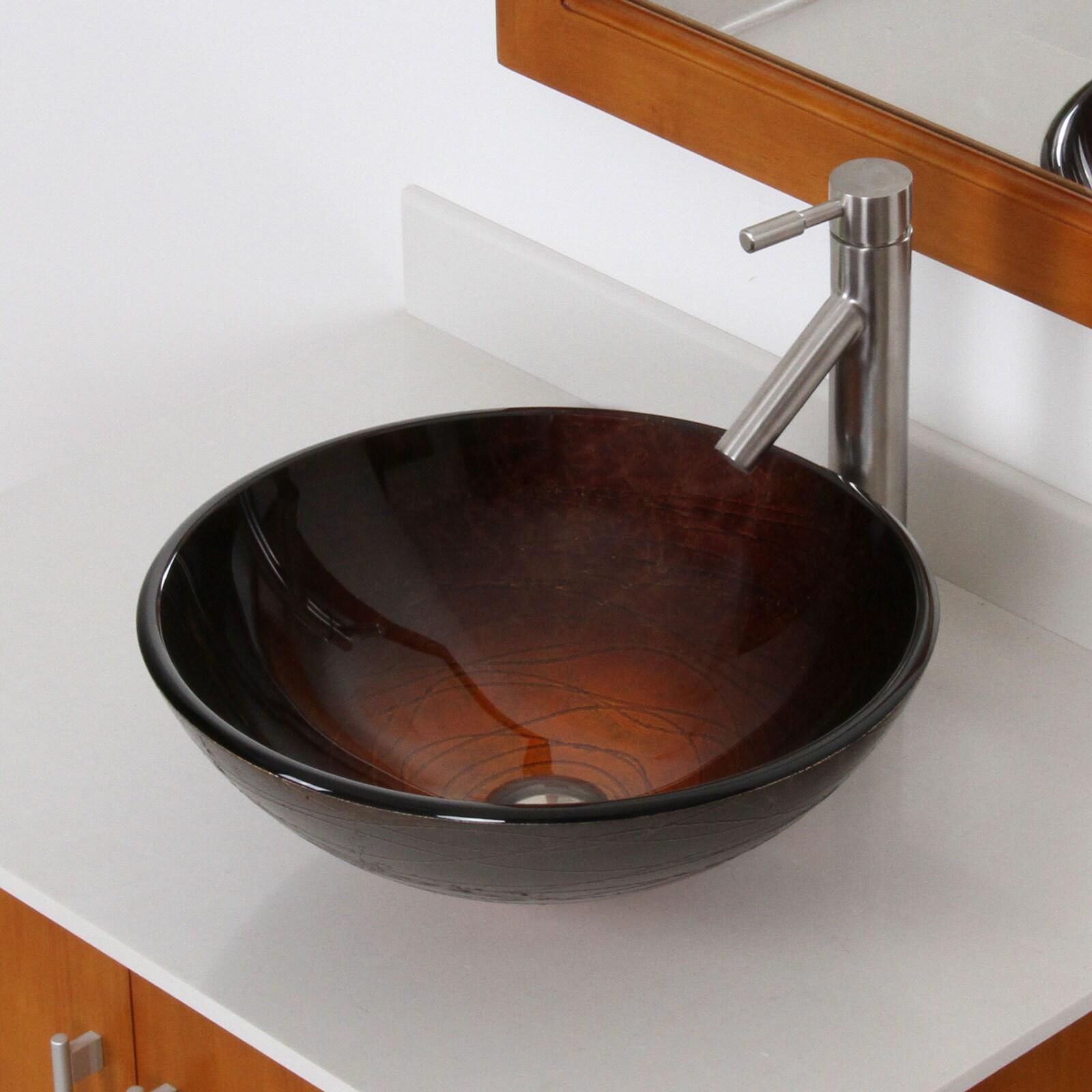 Shop Elite Modern Design Tempered Glass Bathroom Vessel Sink with ...