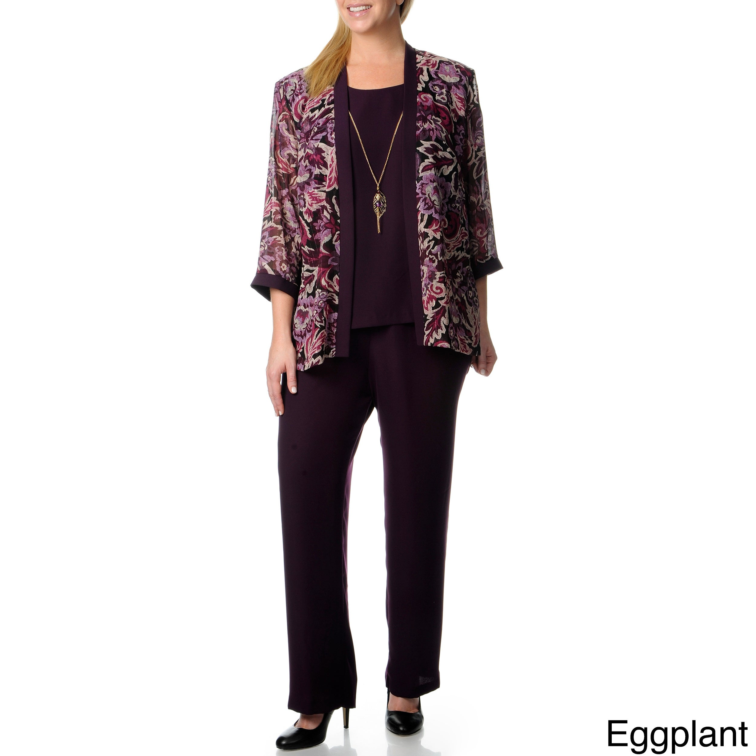 9074c219e8d Shop R   M Richards Women s Plus Mock 3-piece Pant Set - Free Shipping Today  - Overstock - 8335242