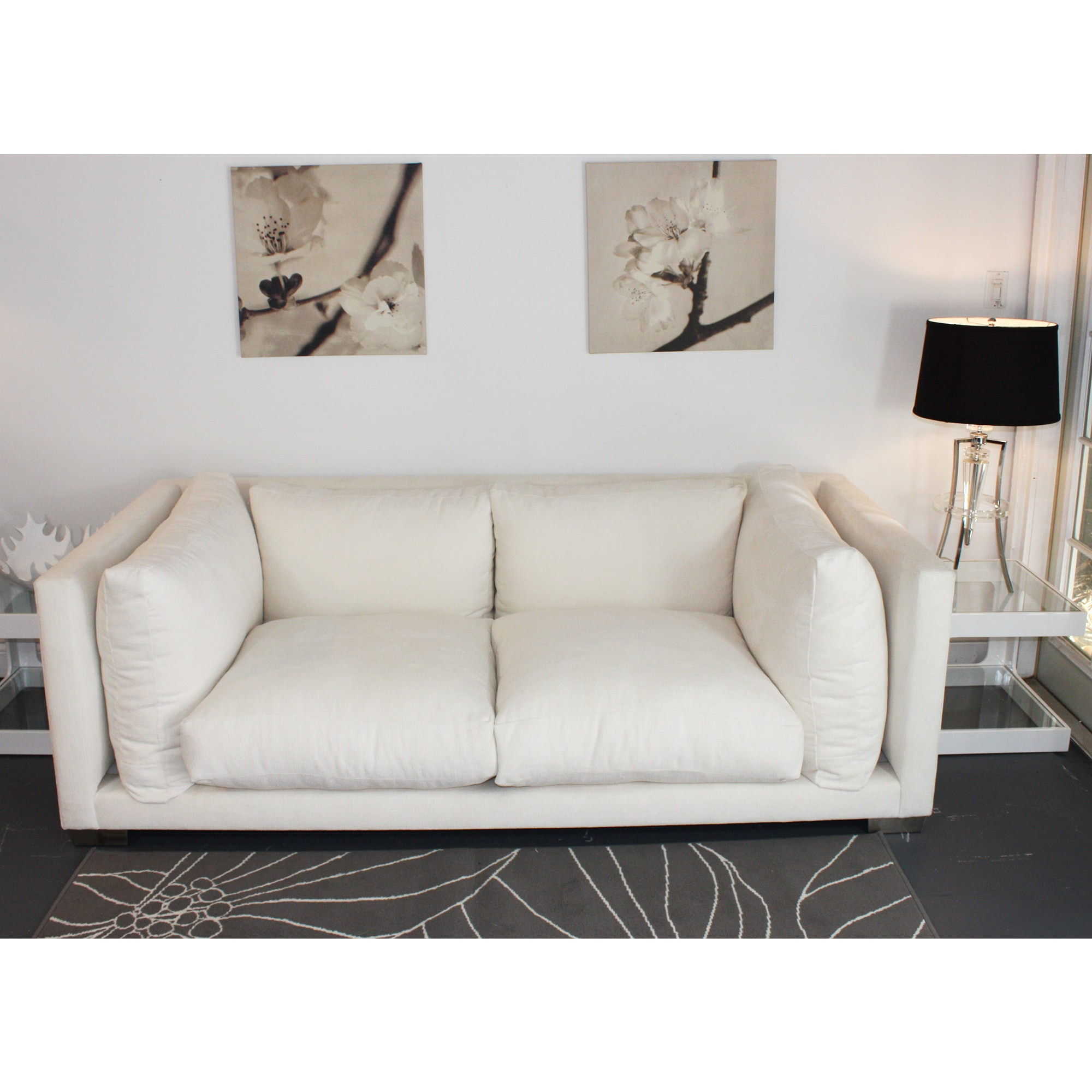 Shop Modern White U0027Nuvolau0027 7 Foot Sofa By Decenni Custom Furniture   Free  Shipping Today   Overstock.com   8338676
