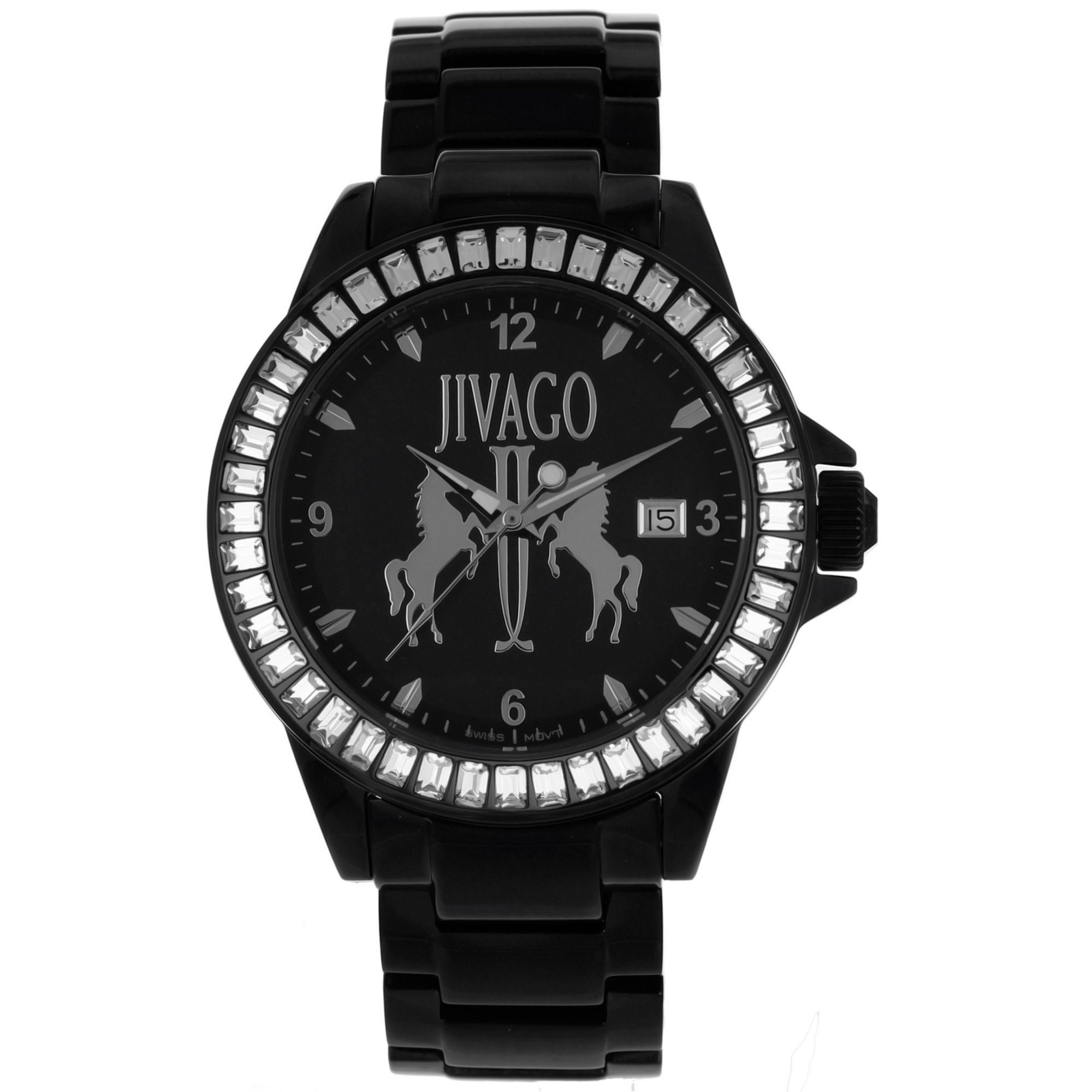 3e9376cde424a Shop Jivago Women s  Folie  Stainless Steel Black Watch with Diamond  Accents - On Sale - Free Shipping Today - Overstock.com - 8341071