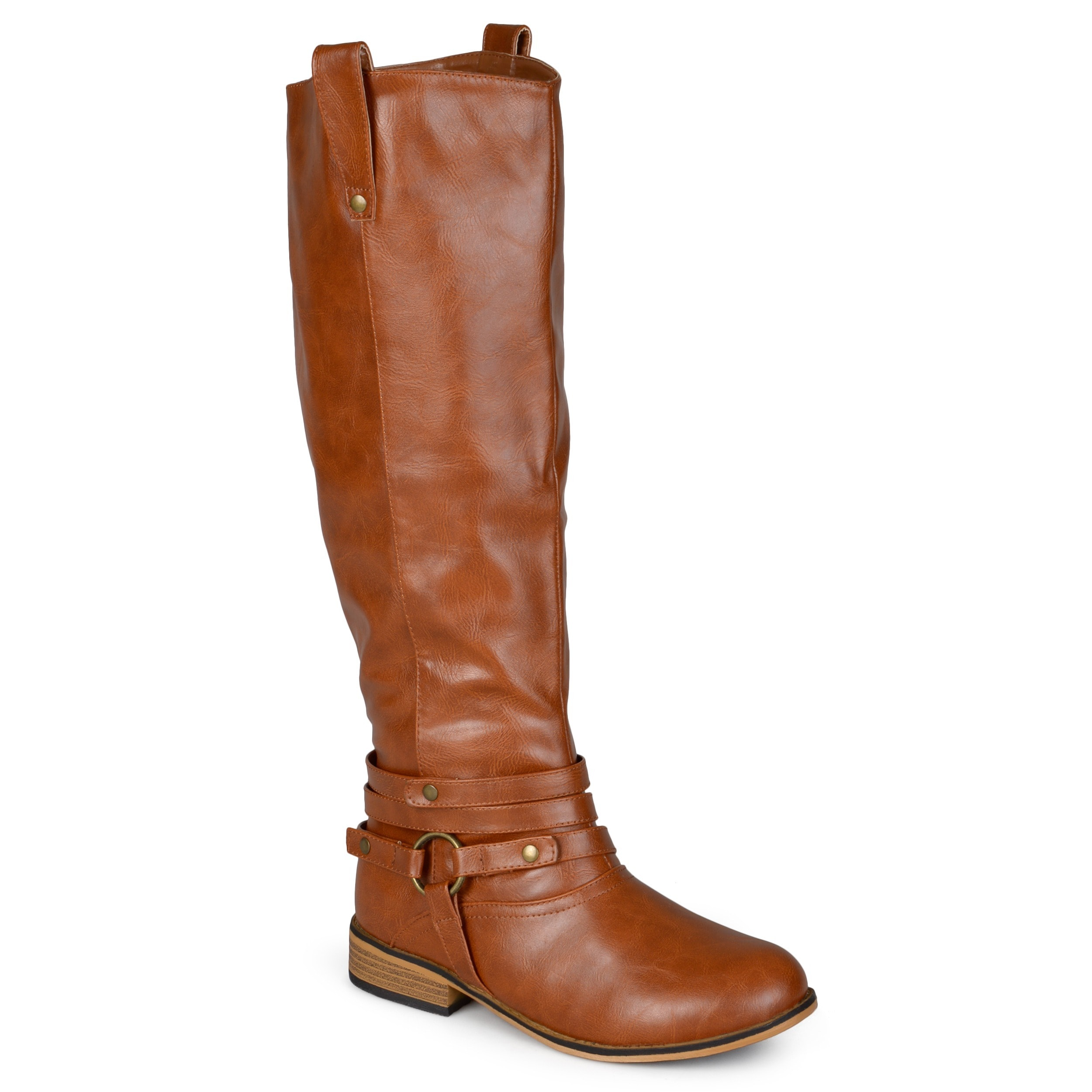 791b6bb1ce46f Journee Collection Women's 'Walla' Regular and Wide-calf Ankle-strap  Knee-high Riding Boot
