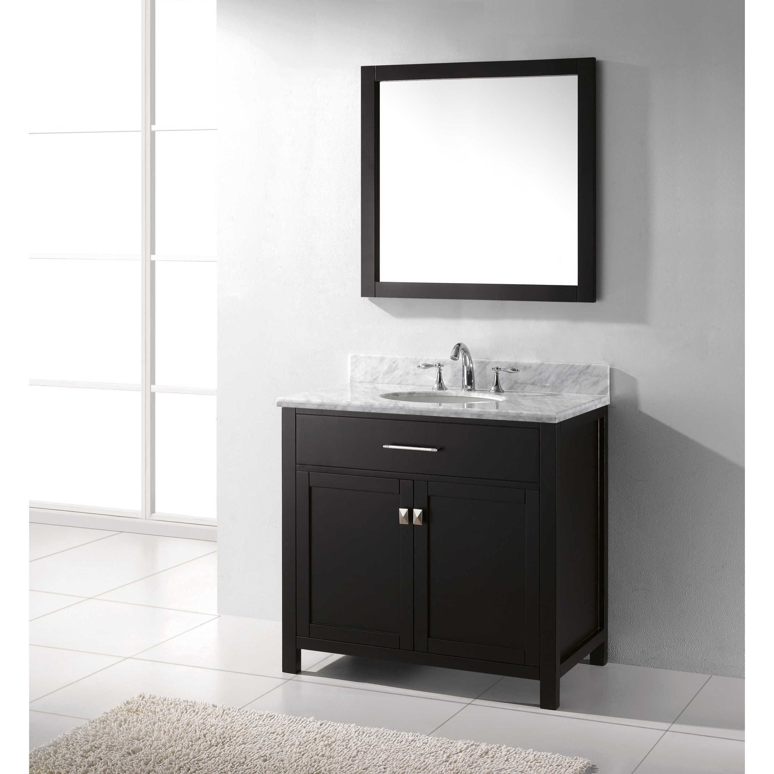 Shop Caroline Inch Single Vanity White Marble Top Round Sink With - 36 inch marble tile