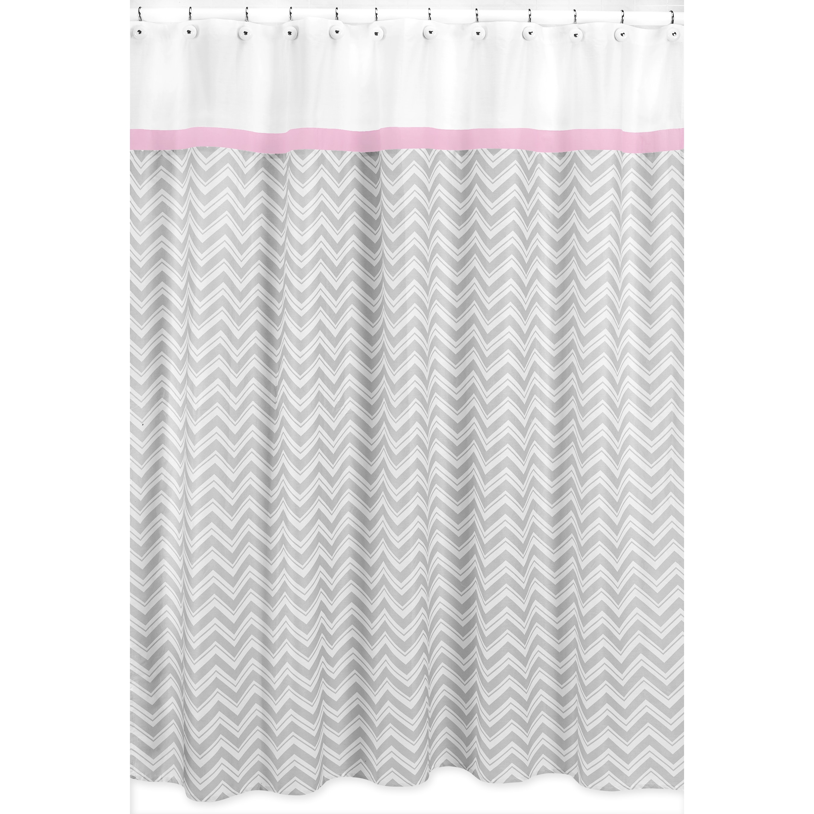 Ordinaire Shop Sweet Jojo Designs Chevron Grey Shower Curtain Pink Trim   Free  Shipping On Orders Over $45   Overstock.com   8347858