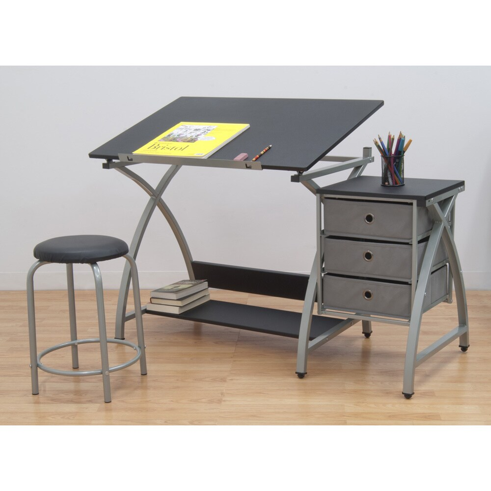 Shop Studio Designs Comet Silver/Black Drafting Hobby Craft Table With  Stool   Free Shipping Today   Overstock.com   8348129
