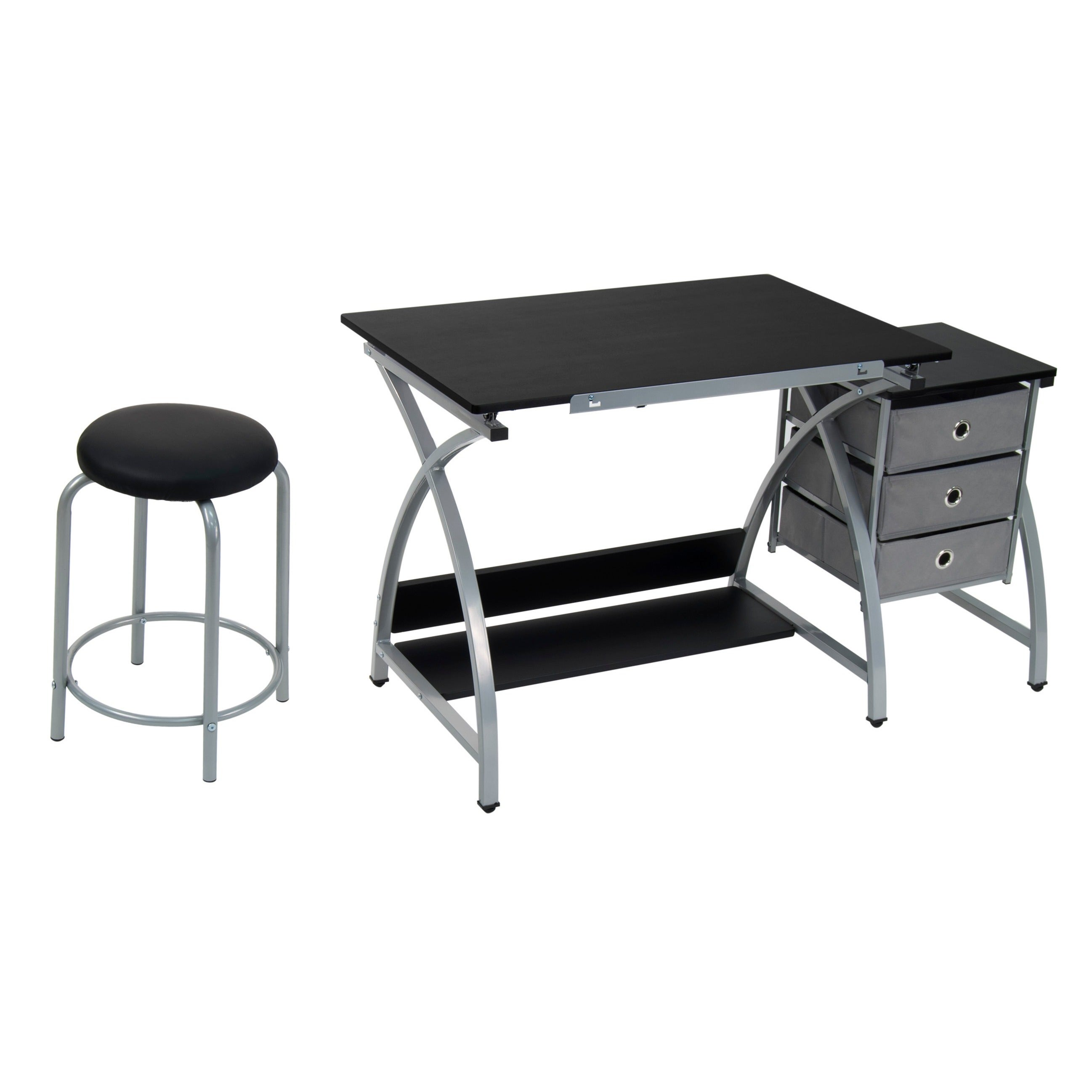 Studio Designs Comet Silver/Black Drafting Hobby Craft Table With Stool    Free Shipping Today   Overstock   15657733