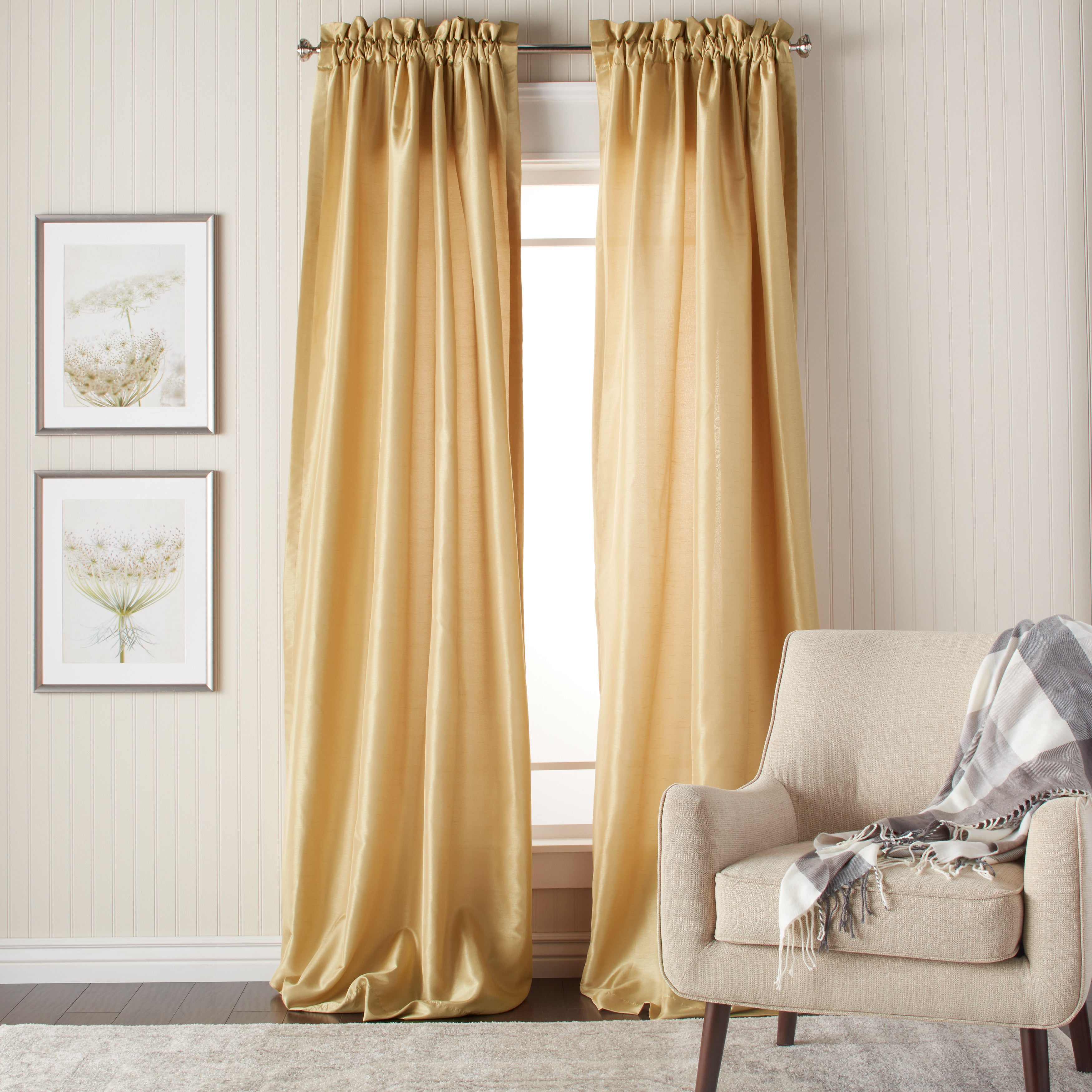 Shop Heritage Landing 96-inch Faux Silk Lined Curtain Pair - 54 x 96 ...