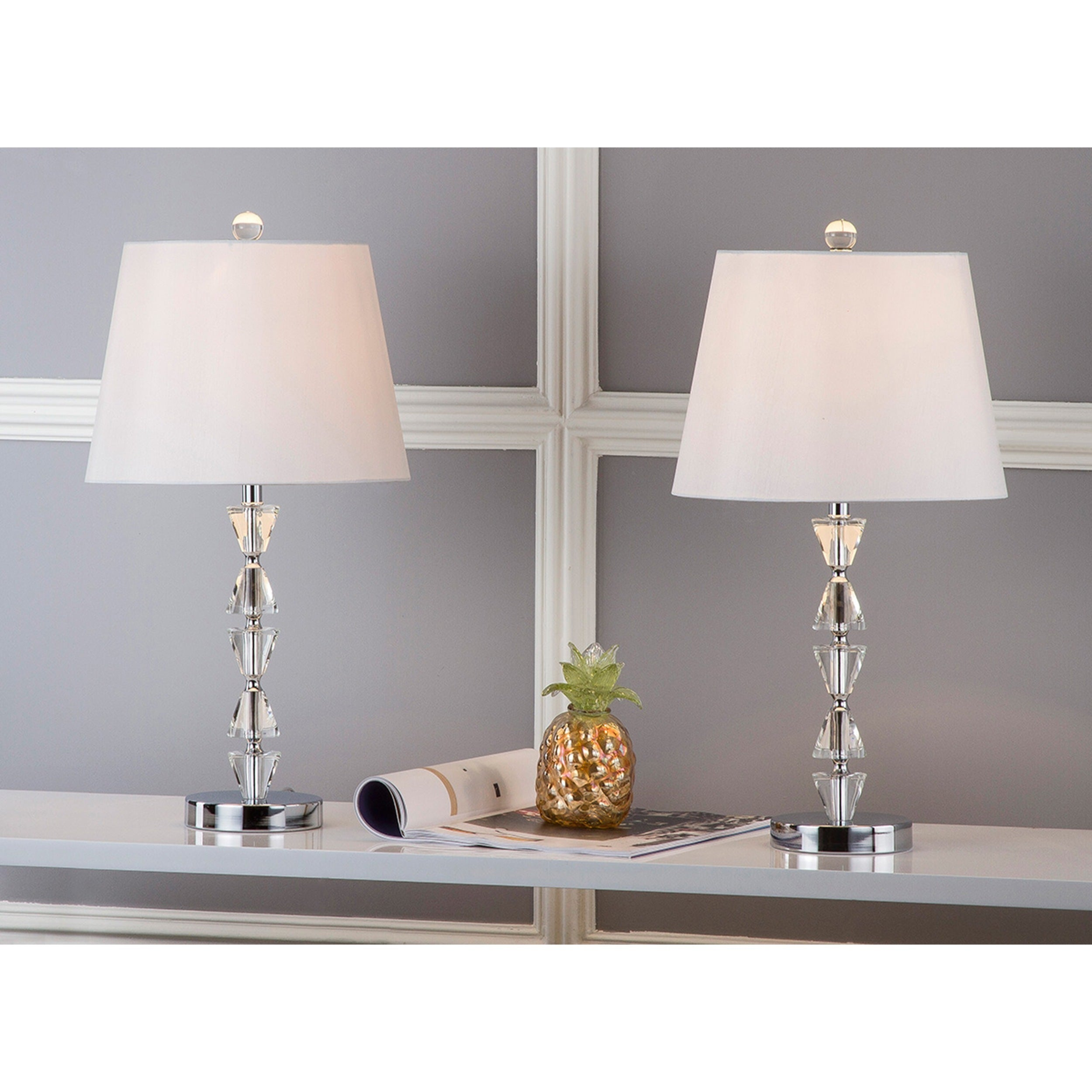 Safavieh Lighting 21 Inch Deco White Shade Prisms Crystal Table Lamp Set Of 2 Free Shipping Today 15662348