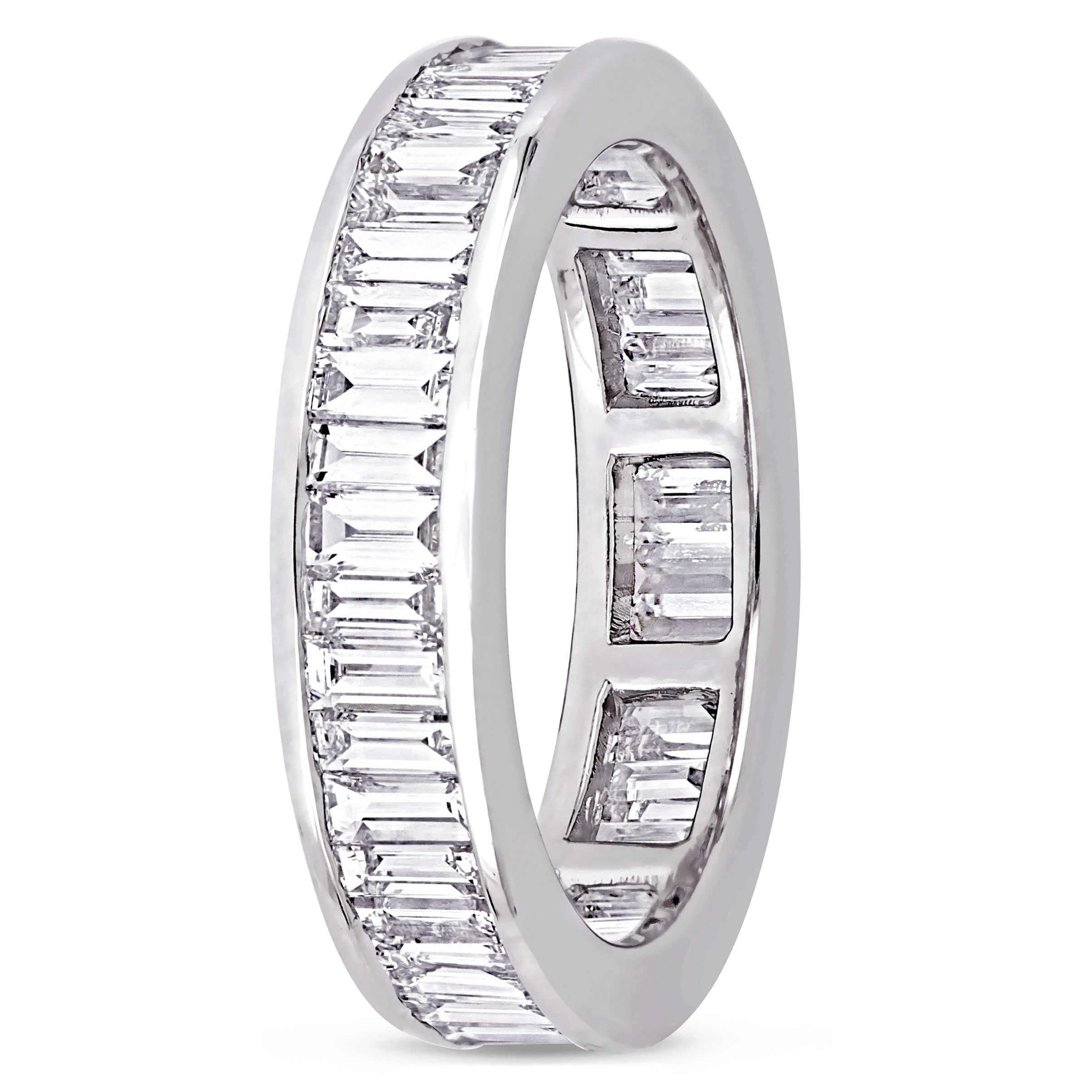 platinum ring full size carat eternity baguette bands band diamond