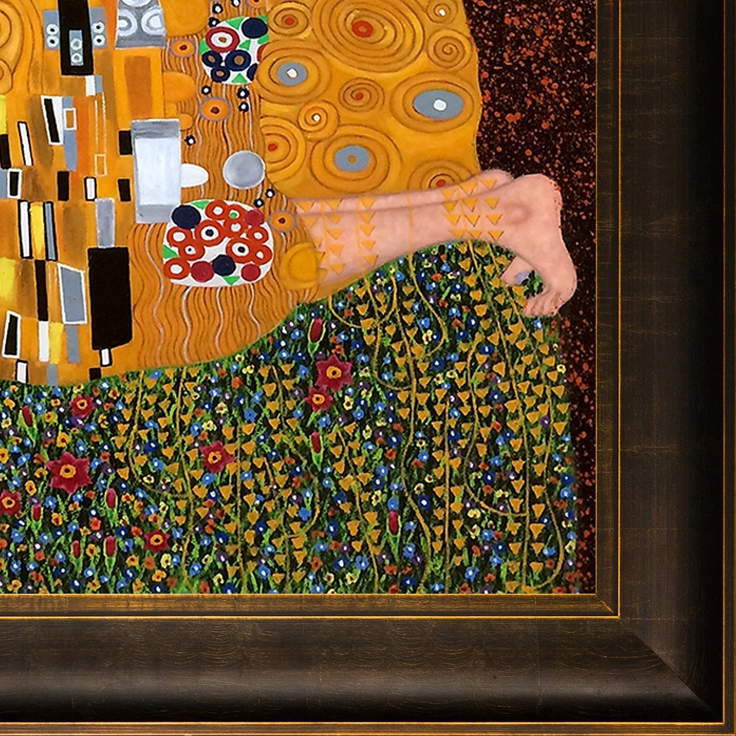 Gustav Klimt \'The Kiss\' Hand Painted Framed Canvas Art - Free ...