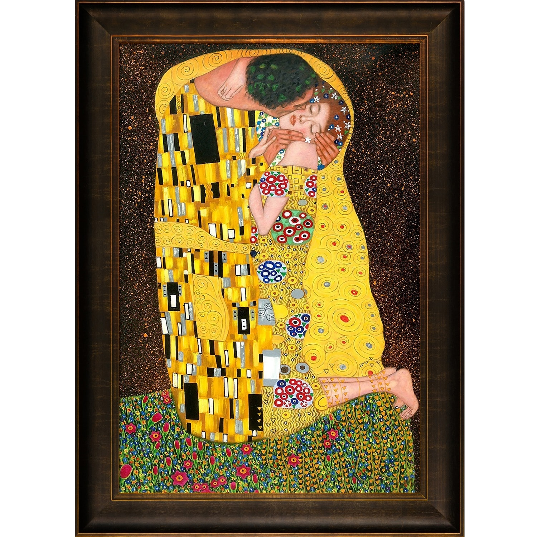 Shop Gustav Klimt \'The Kiss\' Hand Painted Framed Canvas Art - On ...