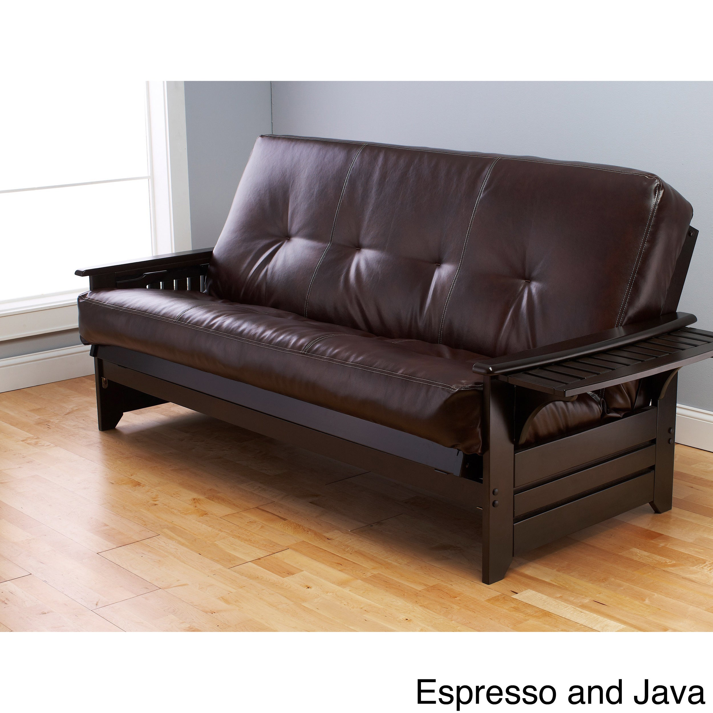 Havenside Home Okaloosa Espresso Full Size Wood Frame With Bonded Leather Innerspring Mattres Free Shipping Today Com 8365989